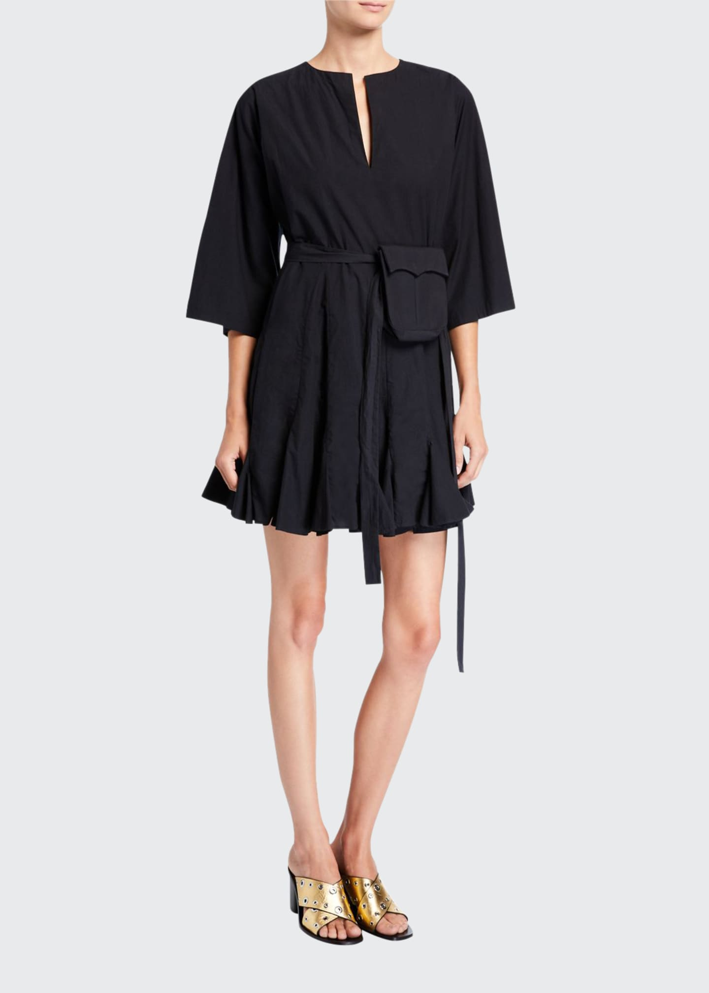 Rhode Ryan 3/4-Sleeve Short Dress with Belt Bag
