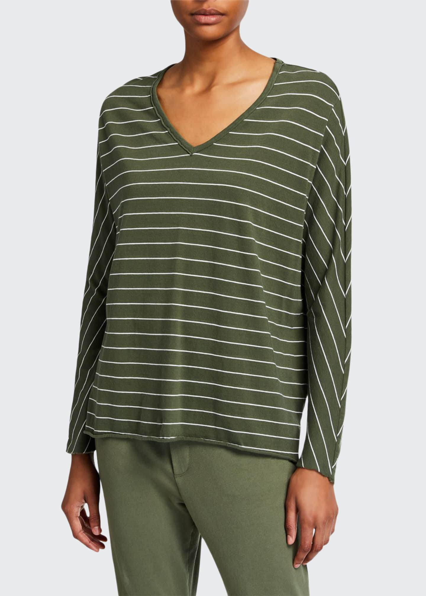 Frank & Eileen Tee Lab Striped Deep V-Neck