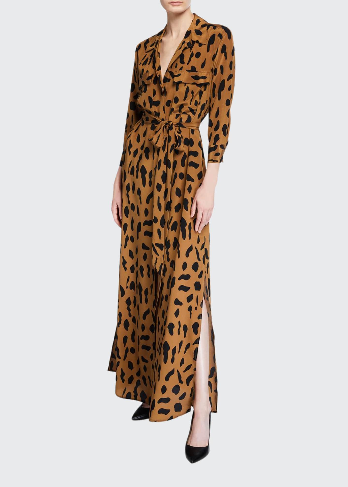 L'Agence Cameron Printed Long Silk Shirtdress