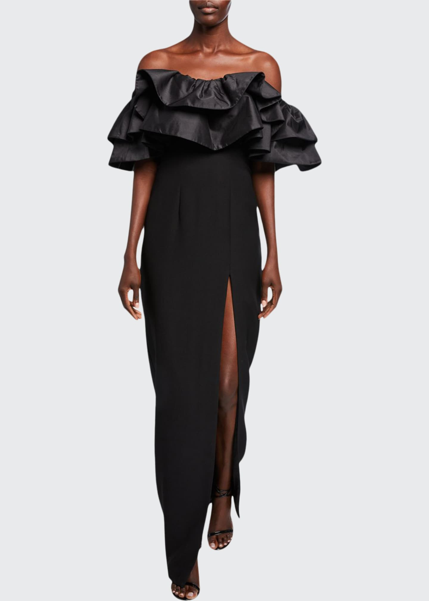 Image 1 of 2: Ruffled Off-the-Shoulder Column Dress