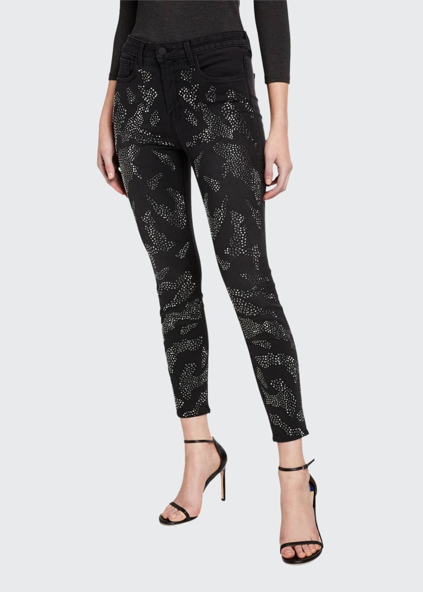 L'Agence Margot High-Rise Skinny Ankle Jeans with Crystal