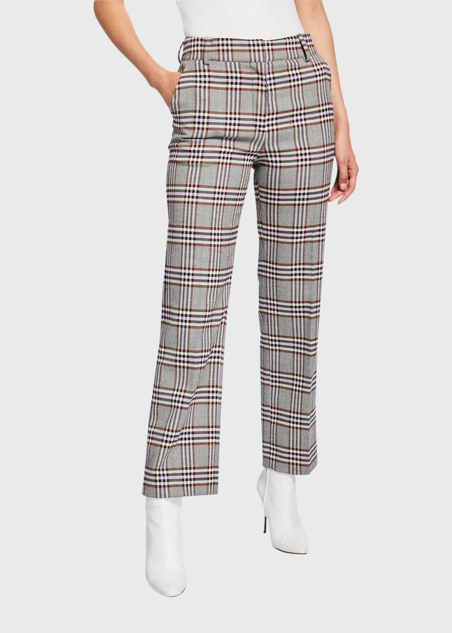 Derek Lam 10 Crosby Straight-Leg Check Trousers