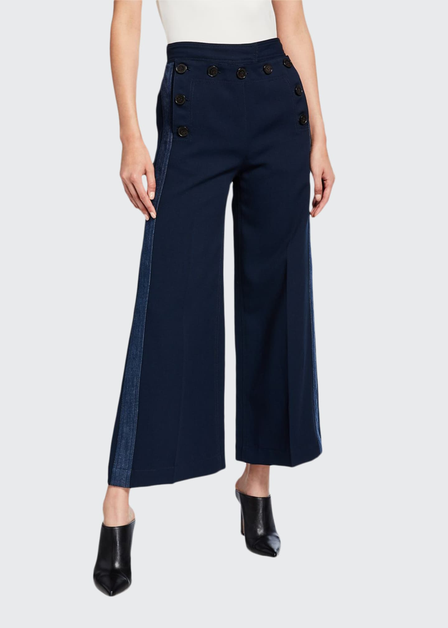 Derek Lam 10 Crosby Side-Stripe Culottes with Sailor