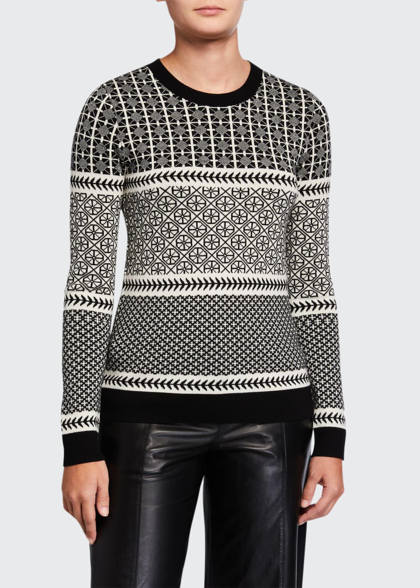 Jason Wu Graphic Fair Isle Crewneck Wool Sweater
