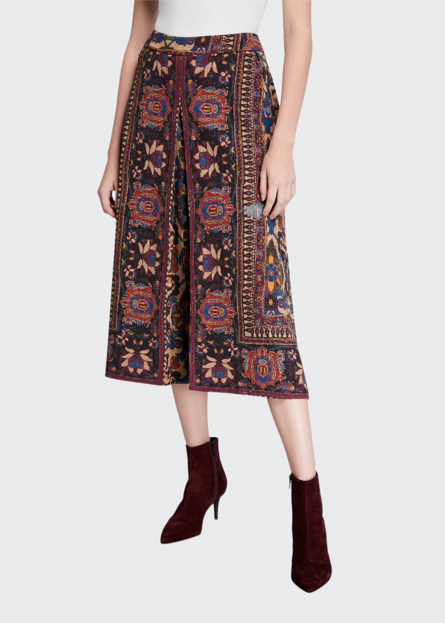 Image 1 of 3: Annie Printed A-Line Midi Skirt