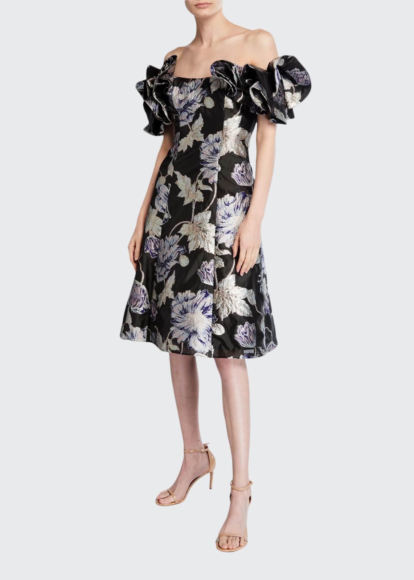 Aidan Mattox Off-the-Shoulder Floral Jacquard Ruffle-Sleeve