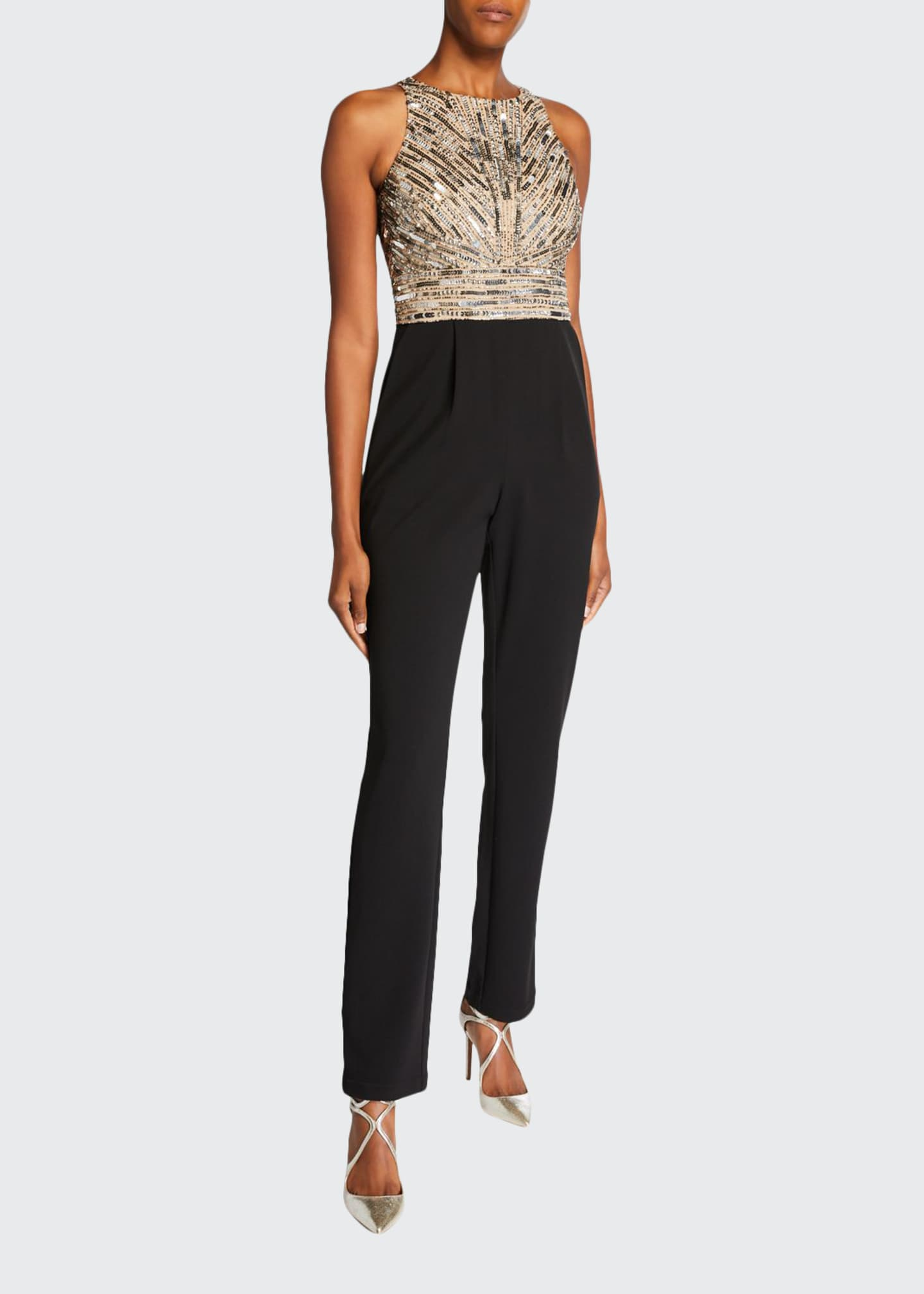 Aidan Mattox Beaded Bodice Sleeveless Jumpsuit with Crepe