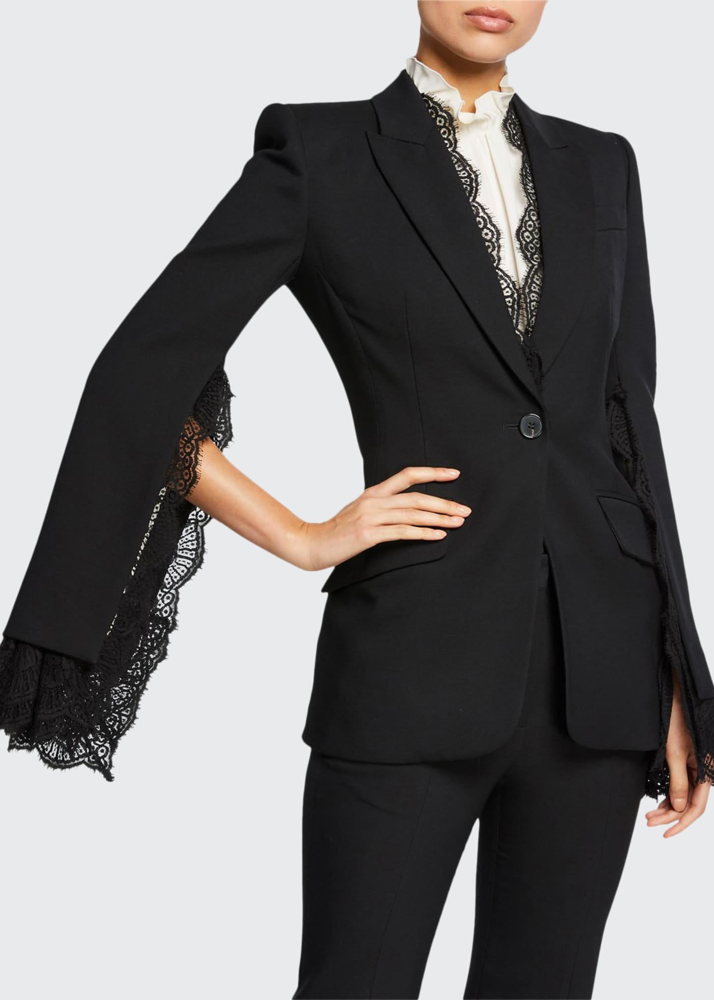 Image 1 of 3: Lace-Trim Leaf Crepe Blazer