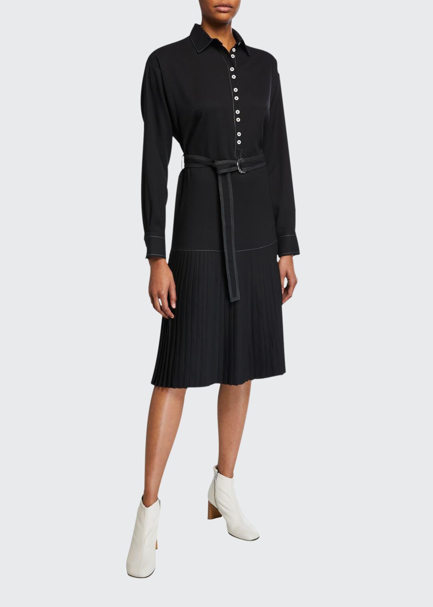 Proenza Schouler PSWL Long-Sleeve Drop-Waist Shirtdress
