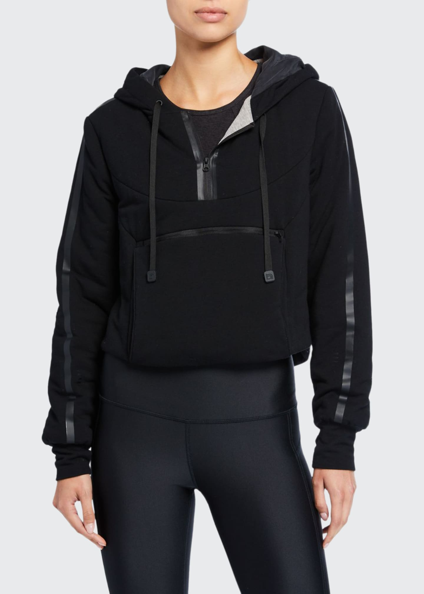 Blanc Noir Cropped Knit Packable Hoodie