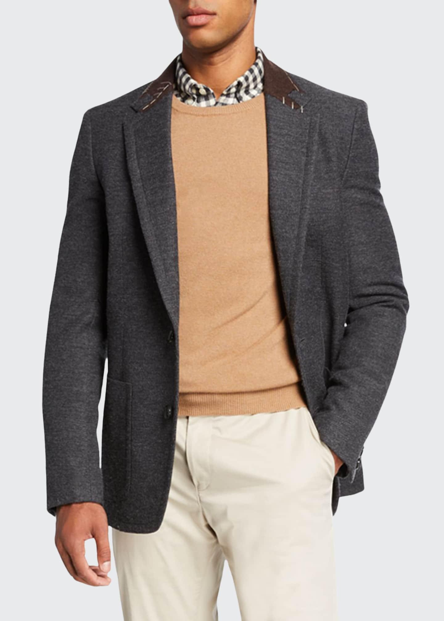Kolor Men's Wool-Blend Sport Jacket w/ Stitched Contrast