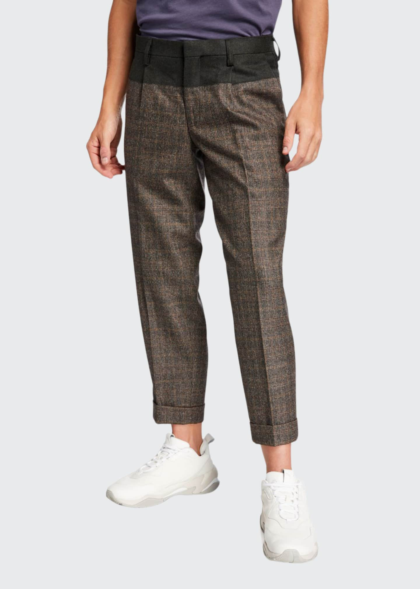 Kolor Men's Glen Plaid Cuffed Top-Block Trousers