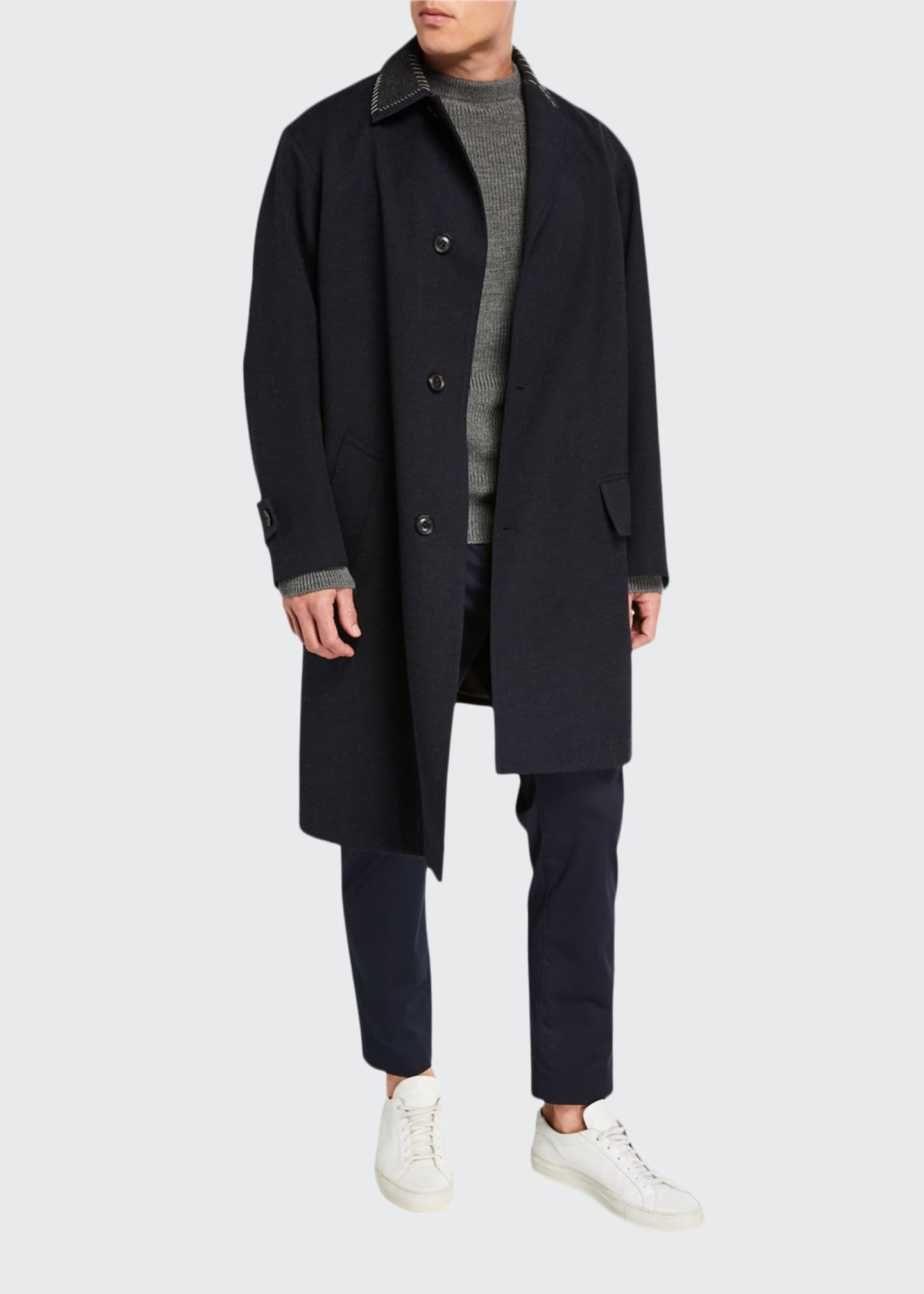 Image 1 of 3: Men's Wool Overcoat w/ Contrast Stitch Trim
