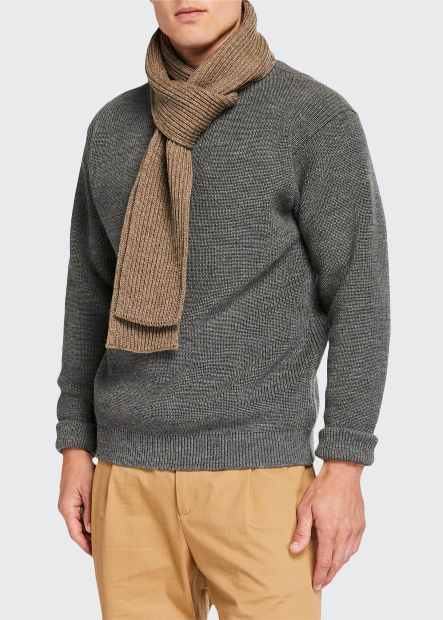 ANDERSEN-ANDERSEN Men's Rib-Knit Wool Scarf