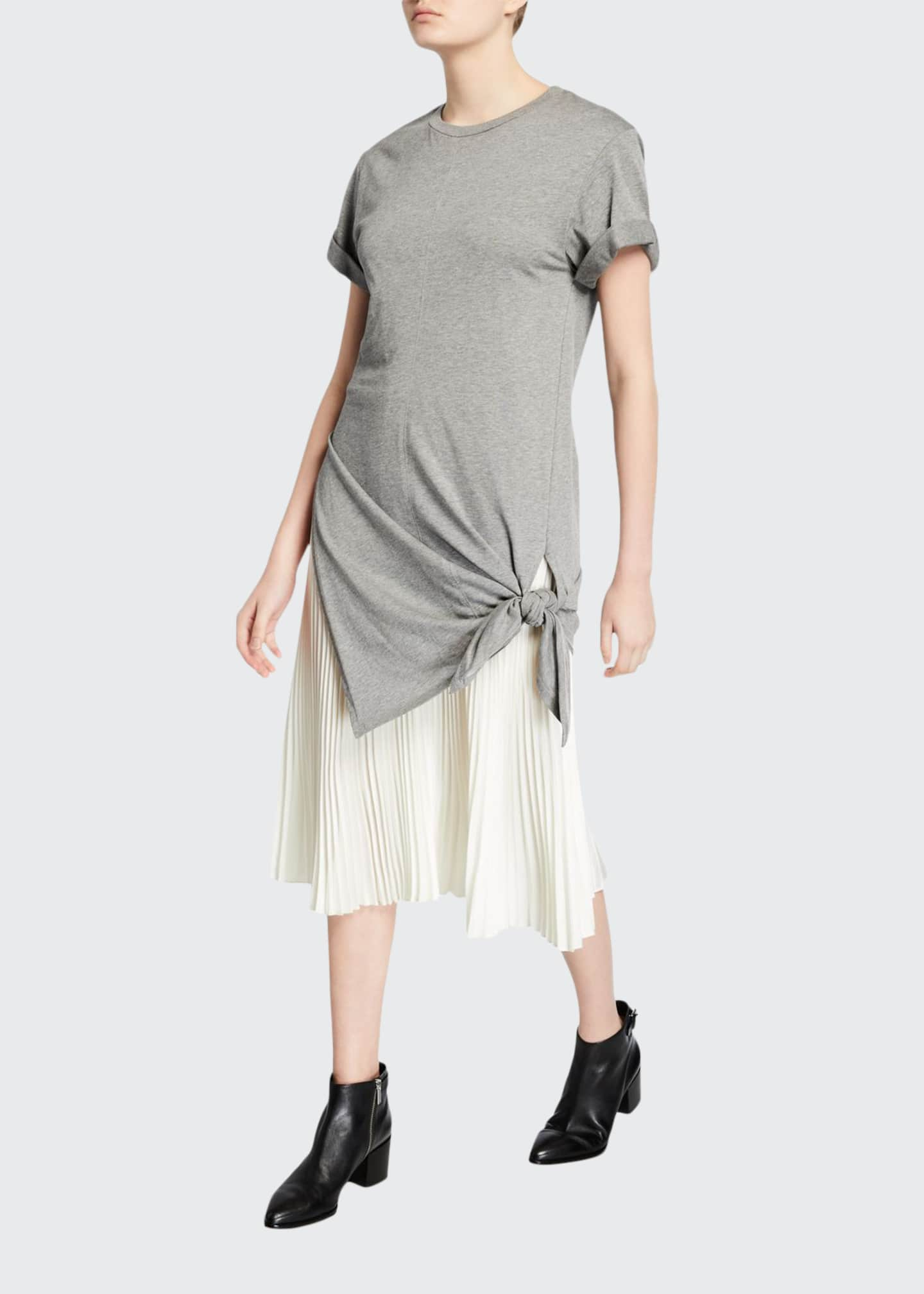 3.1 Phillip Lim Side-Tie Crewneck Tee Dress with