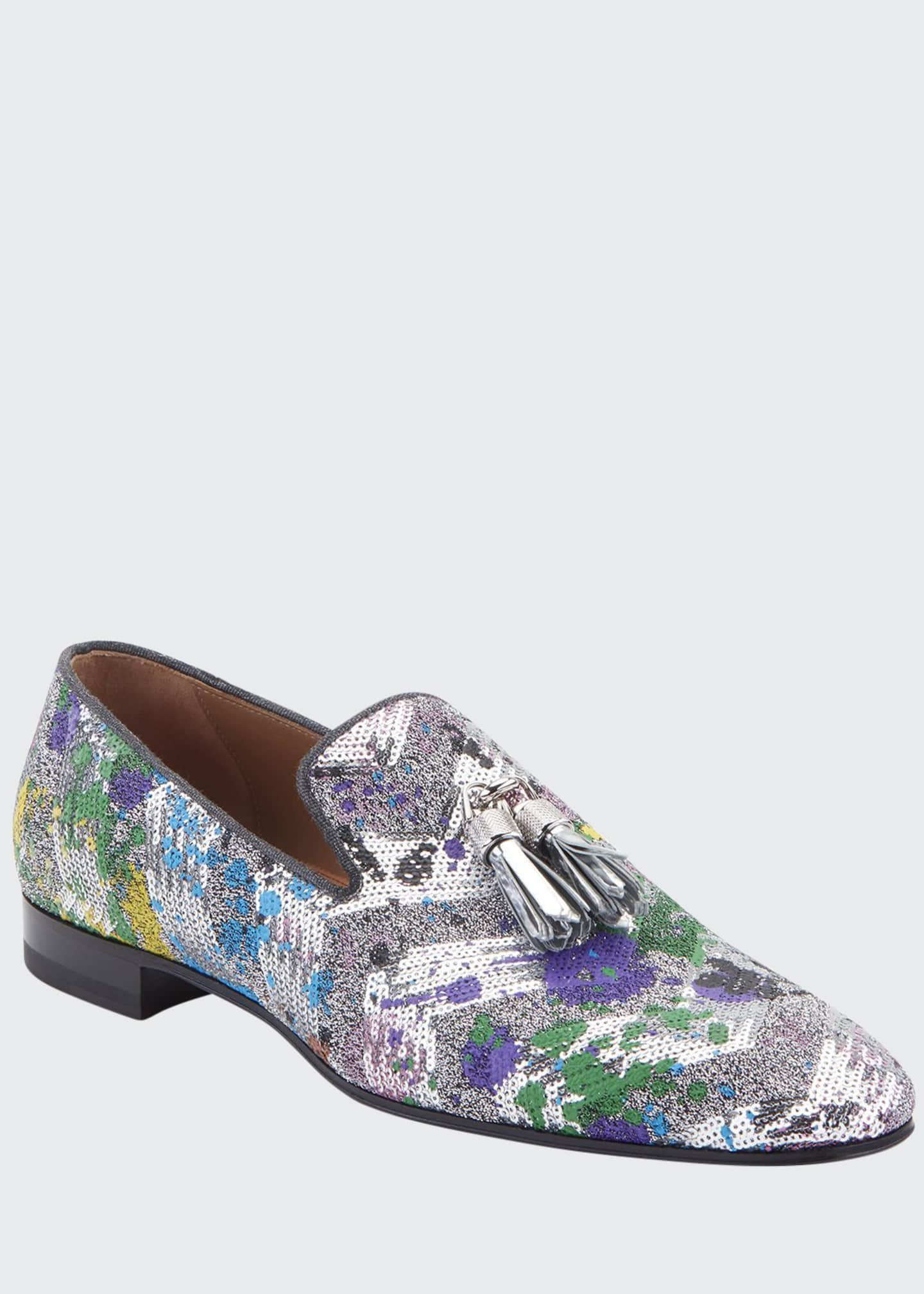 Image 1 of 2: Men's Rivalion Graphic Sequined Tassel Loafers