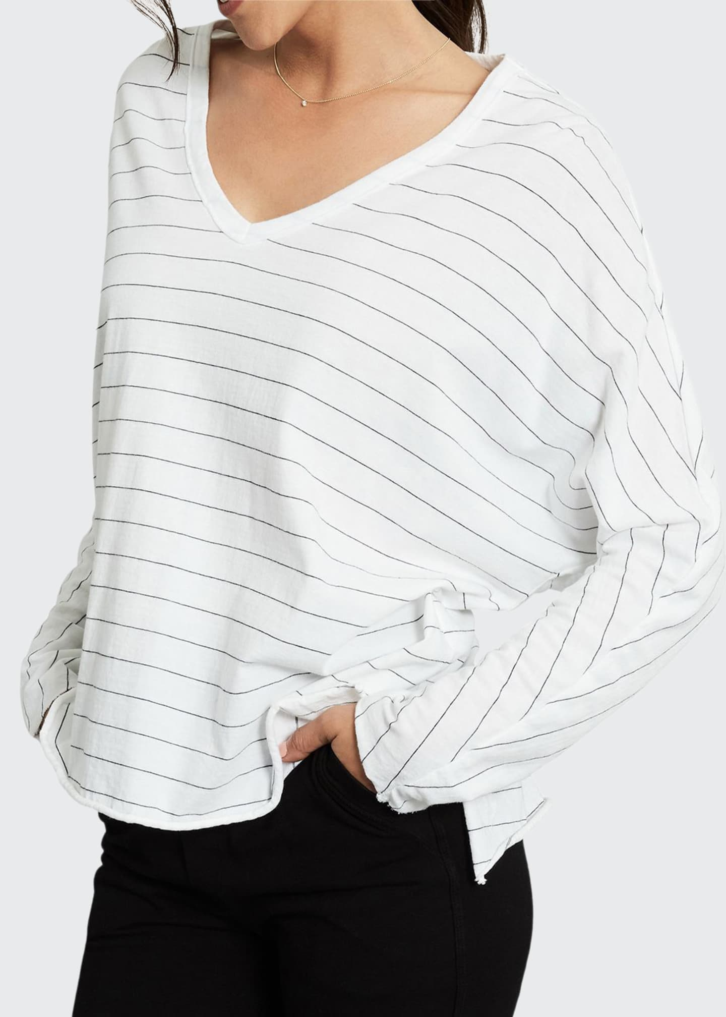 Frank & Eileen Tee Lab Striped V-Neck Long-Sleeve