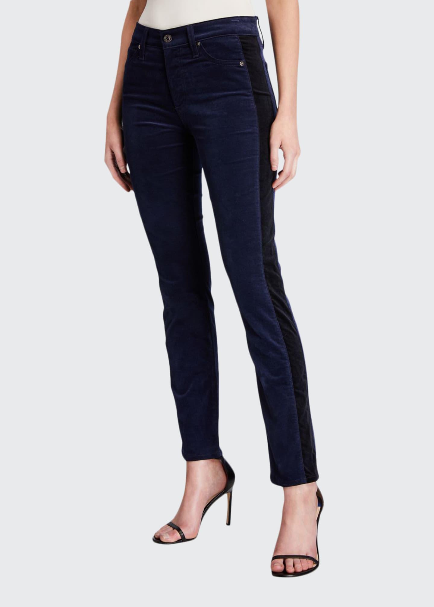 AG Mari Straight-Leg Tuxedo Stripe Jeans