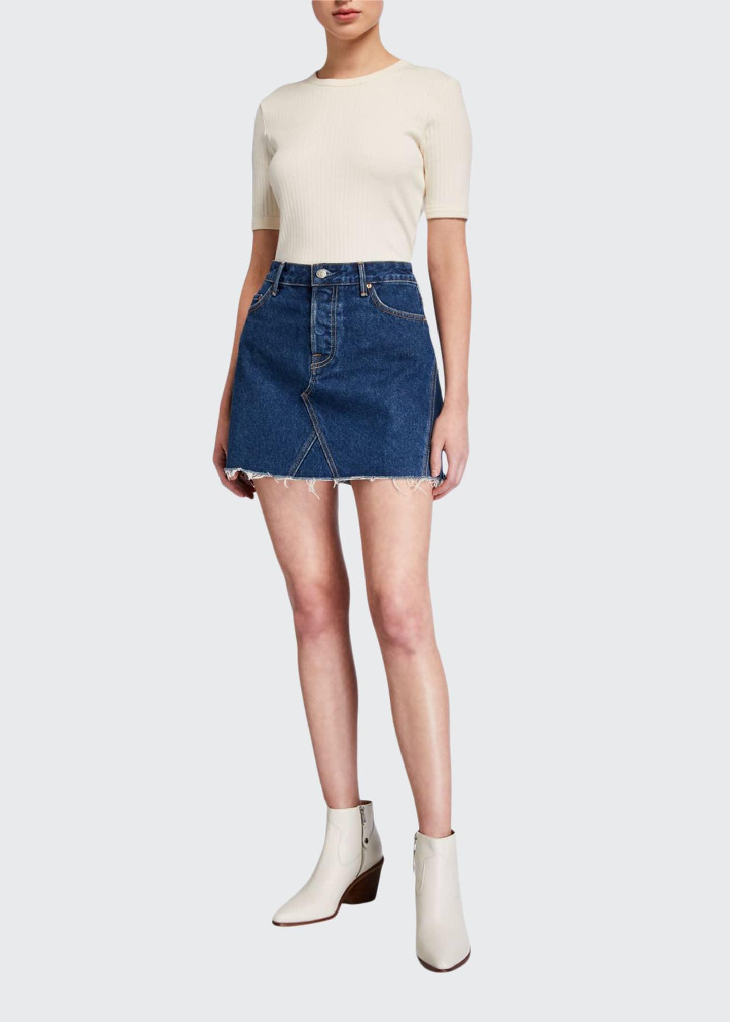 GRLFRND Eva Frayed Denim Skirt