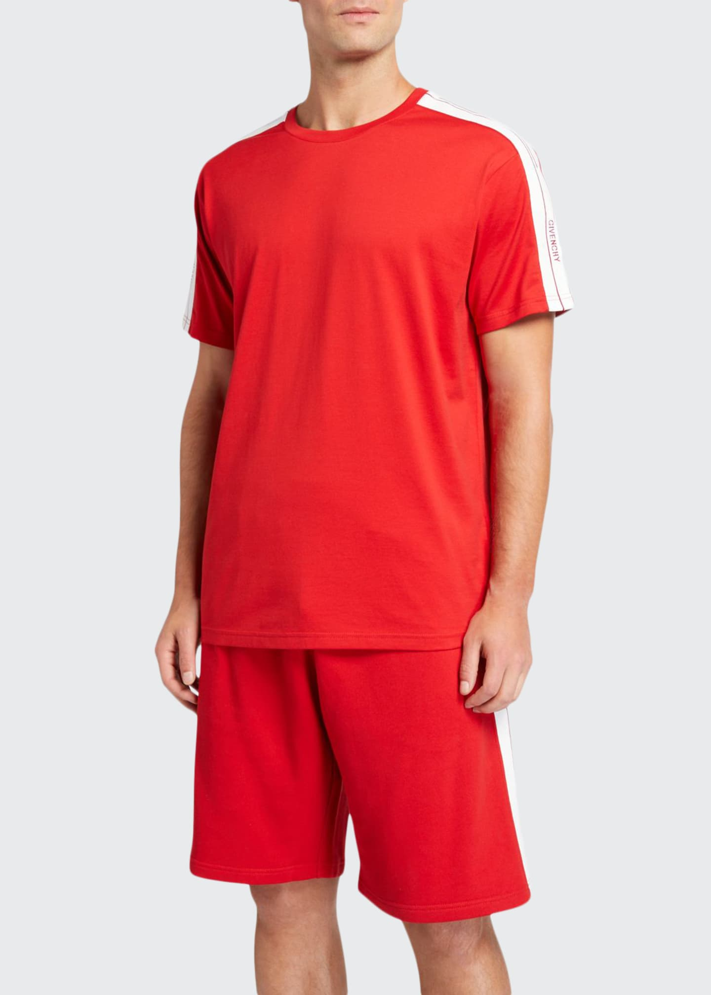 Givenchy Men's Crewneck Logo-Tape T-Shirt
