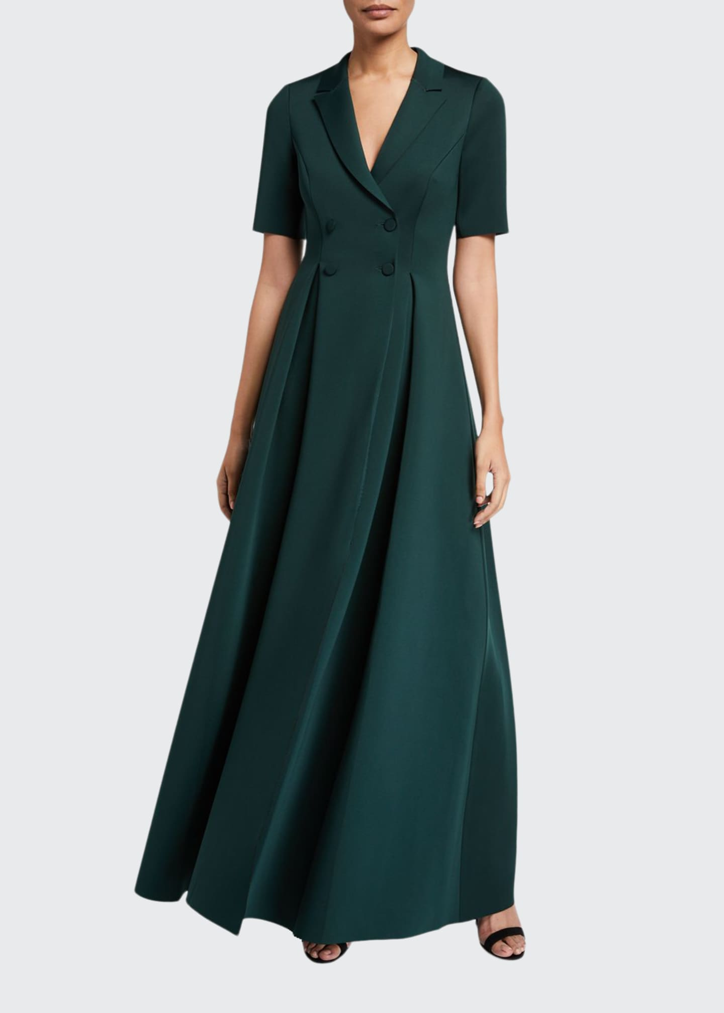 Badgley Mischka Collection Elbow-Sleeve Long Scuba Coat Dress
