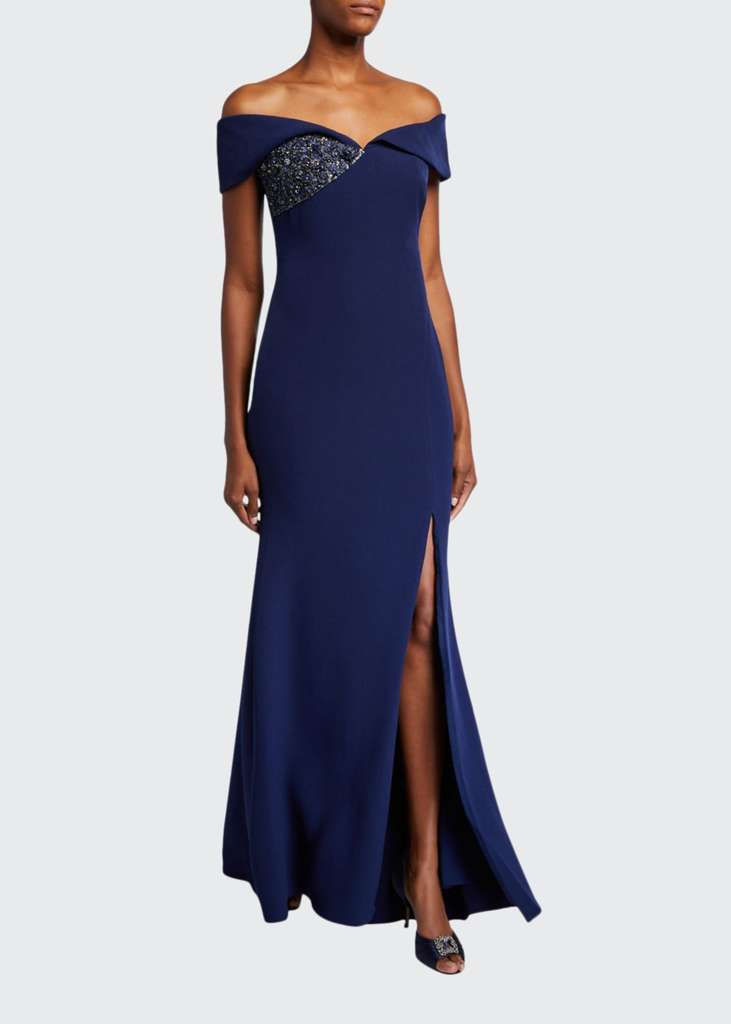 Badgley Mischka Collection Off-the-Shoulder Gown with Beaded