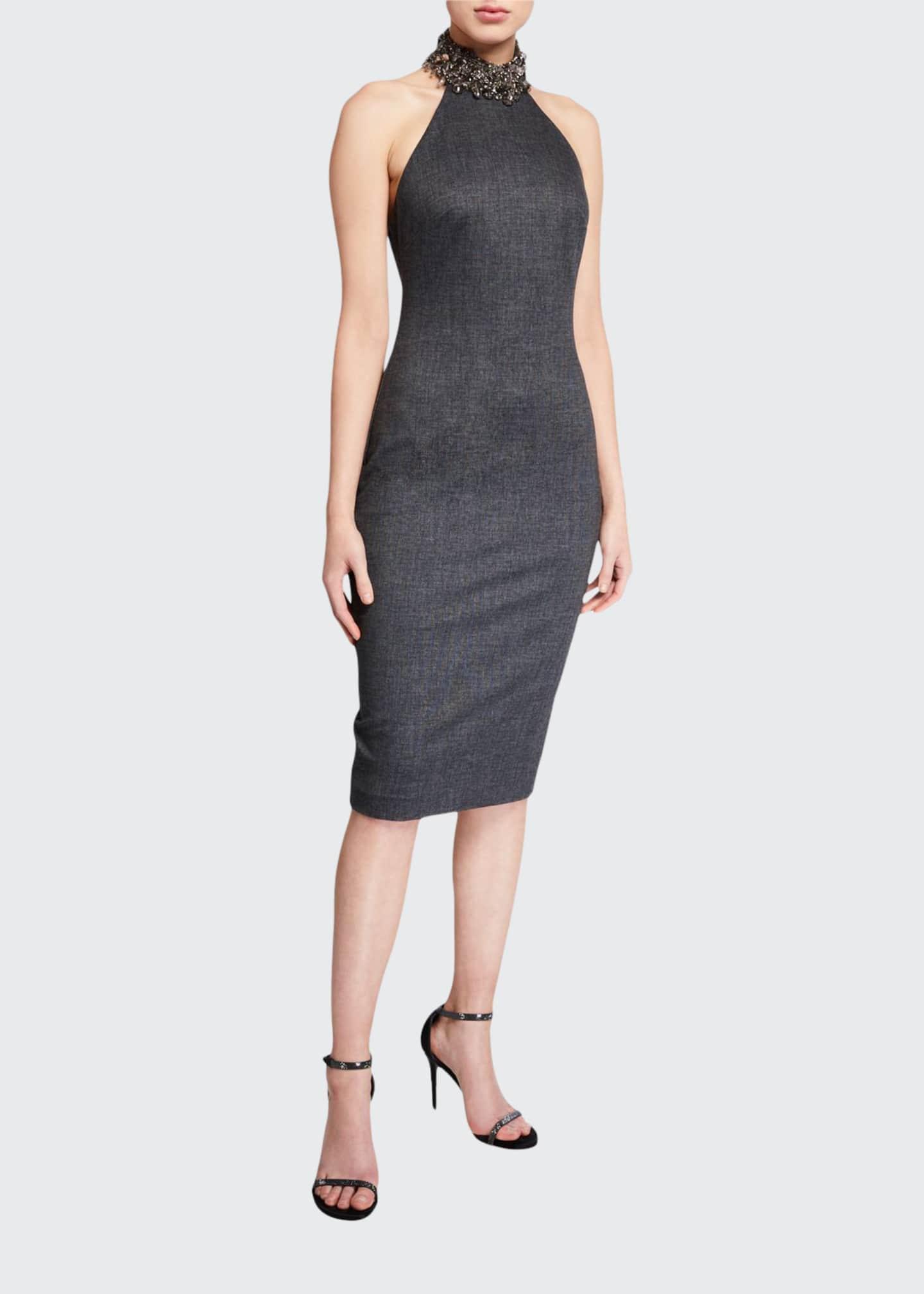 Badgley Mischka Collection Menswear Jeweled Halter Dress