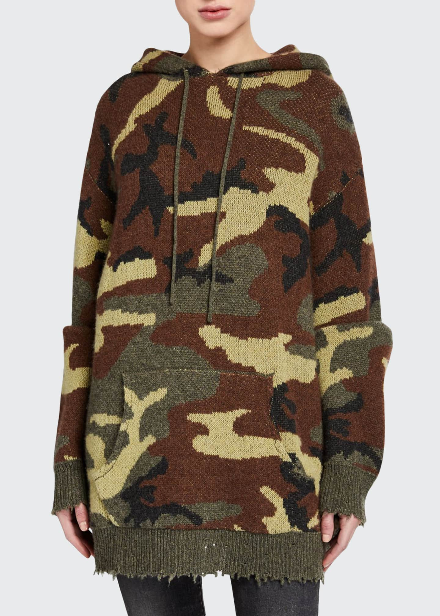 13 Rattles Camo-Print Hooded Pullover Sweater