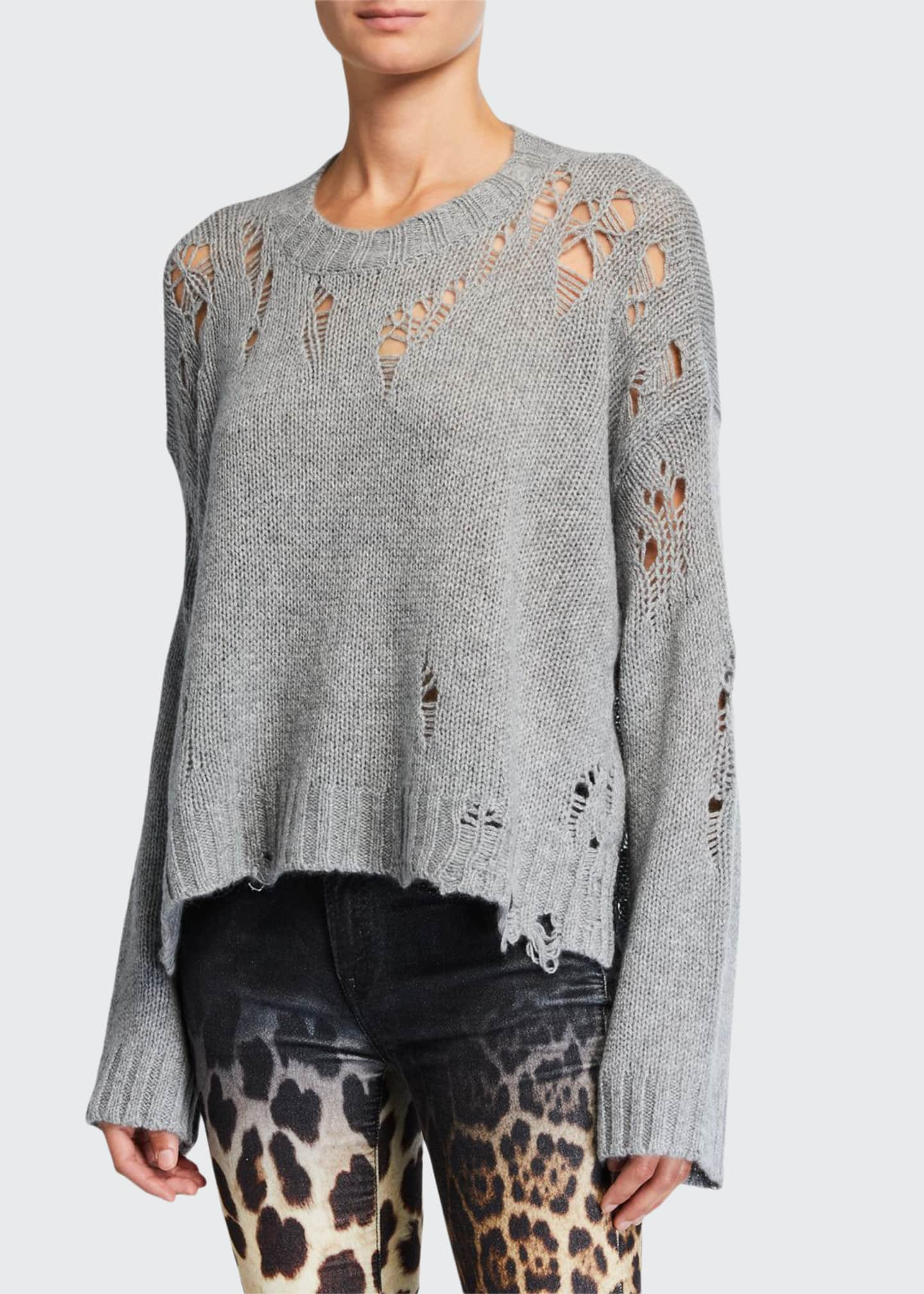 13 Rattles Shredded Side-Slit Cashmere Sweater