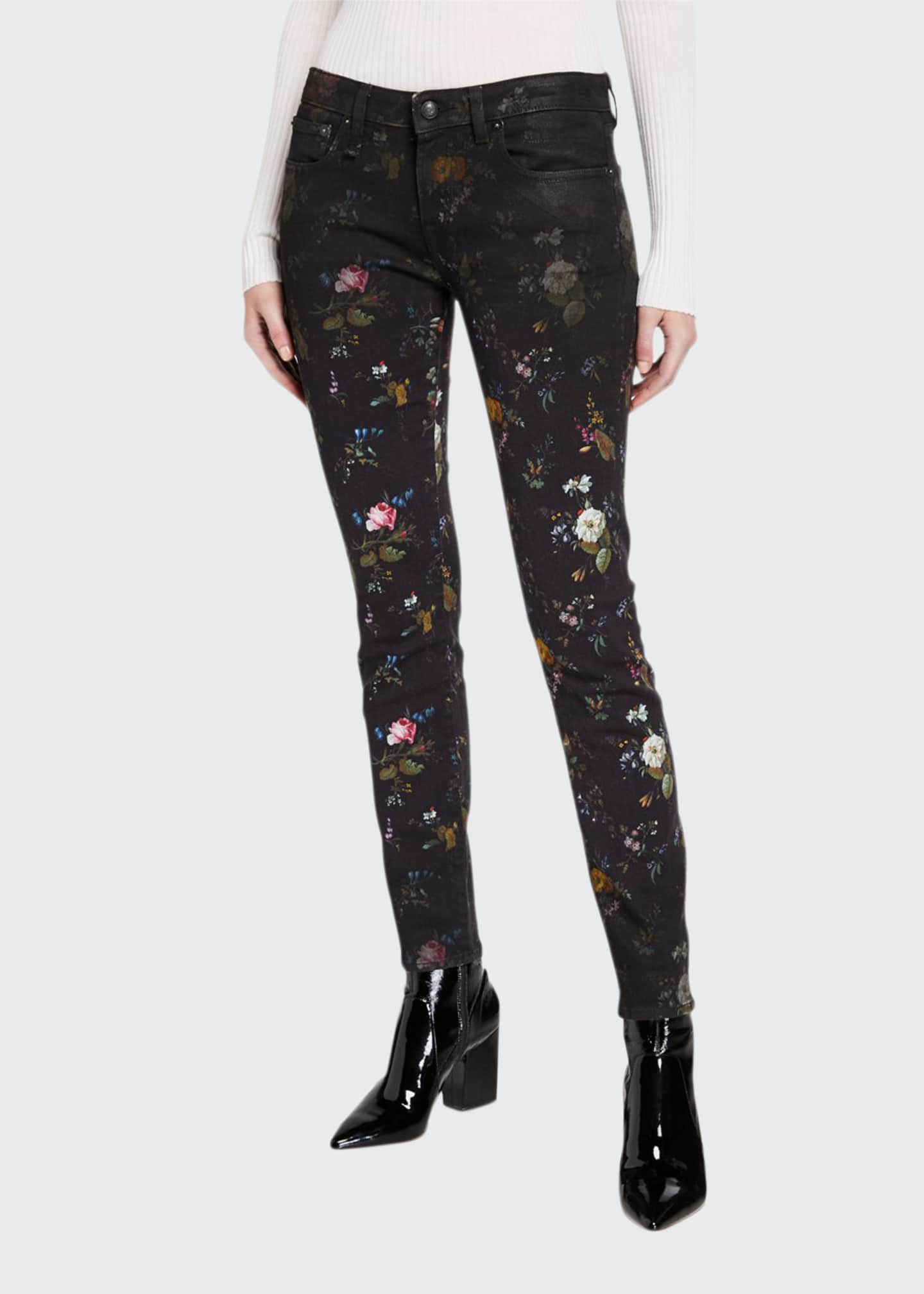13 Rattles Kate Mid-Rise Skinny Floral-Print Jeans