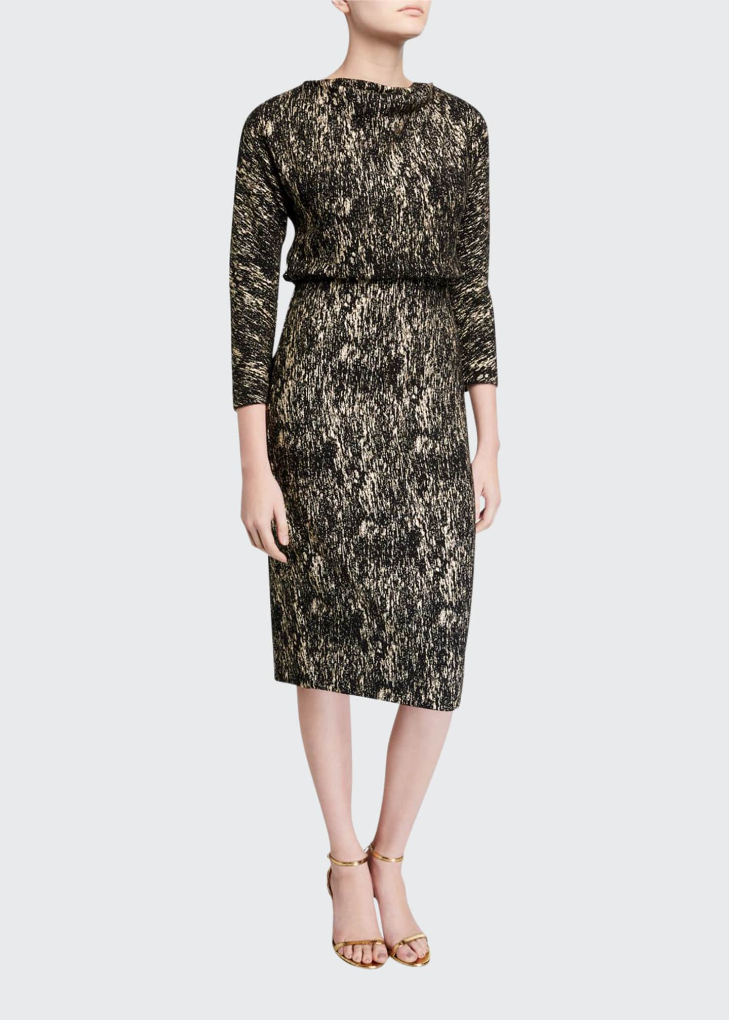 Image 1 of 2: Foiled High-Neck 3/4-Sleeve Blouson Dress