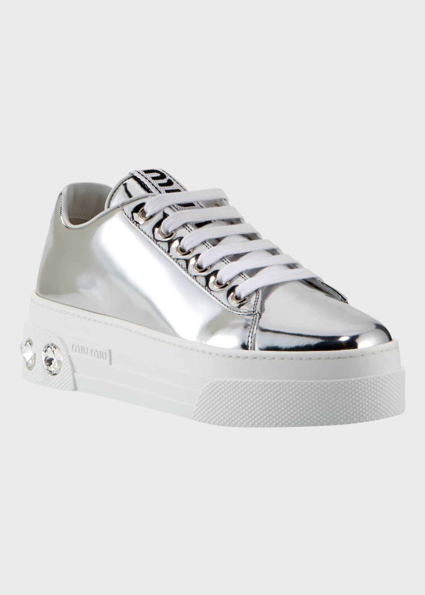 Image 1 of 3: Metallic Patent Platform Sneakers