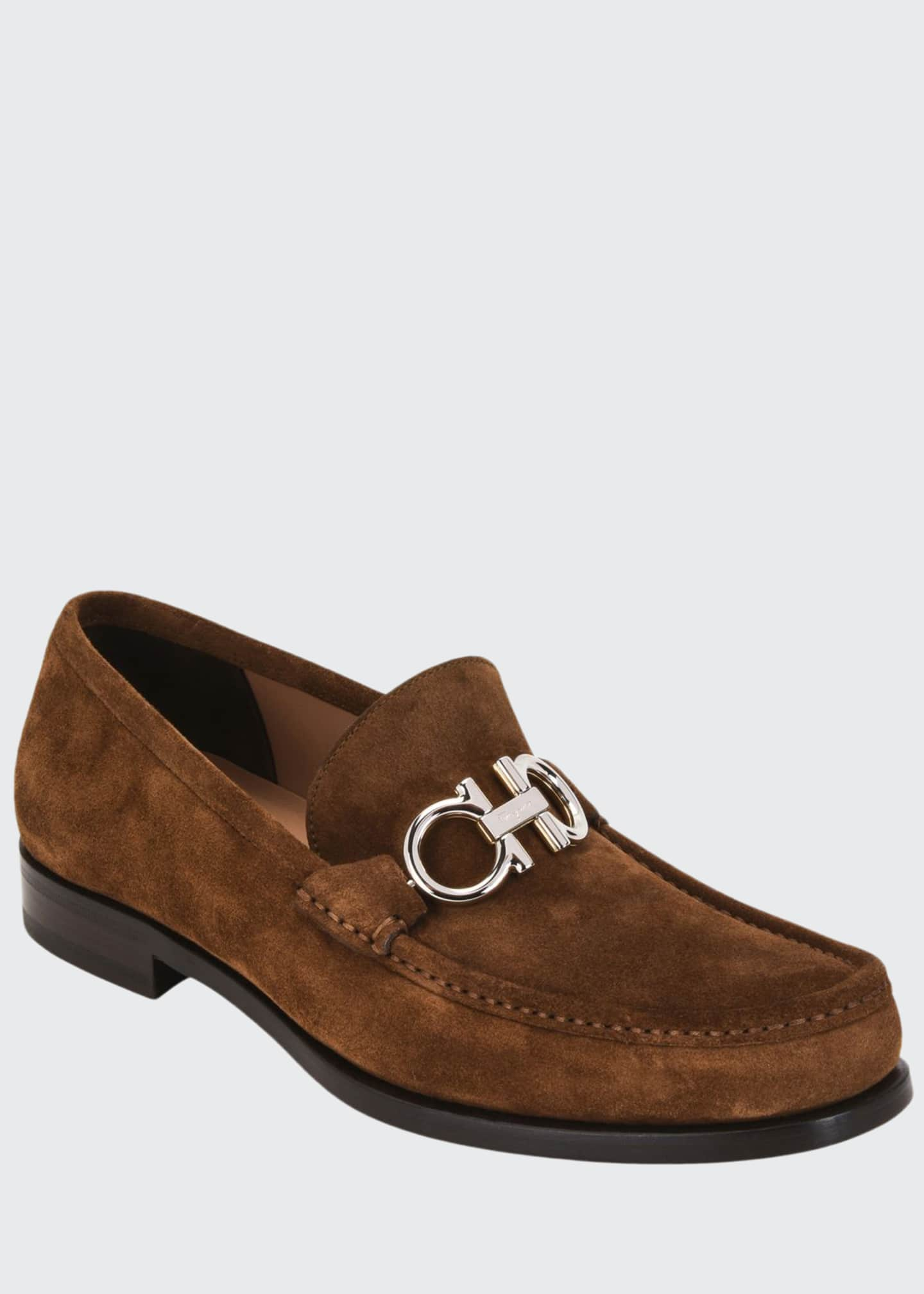 Image 1 of 4: Men's Rolo Suede Gancini-Bit Loafers