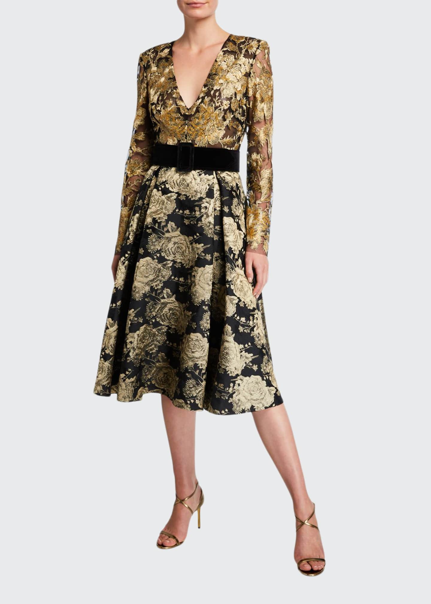 Image 1 of 2: V-Neck Long-Sleeve Floral & Lace Belted Cocktail Dress