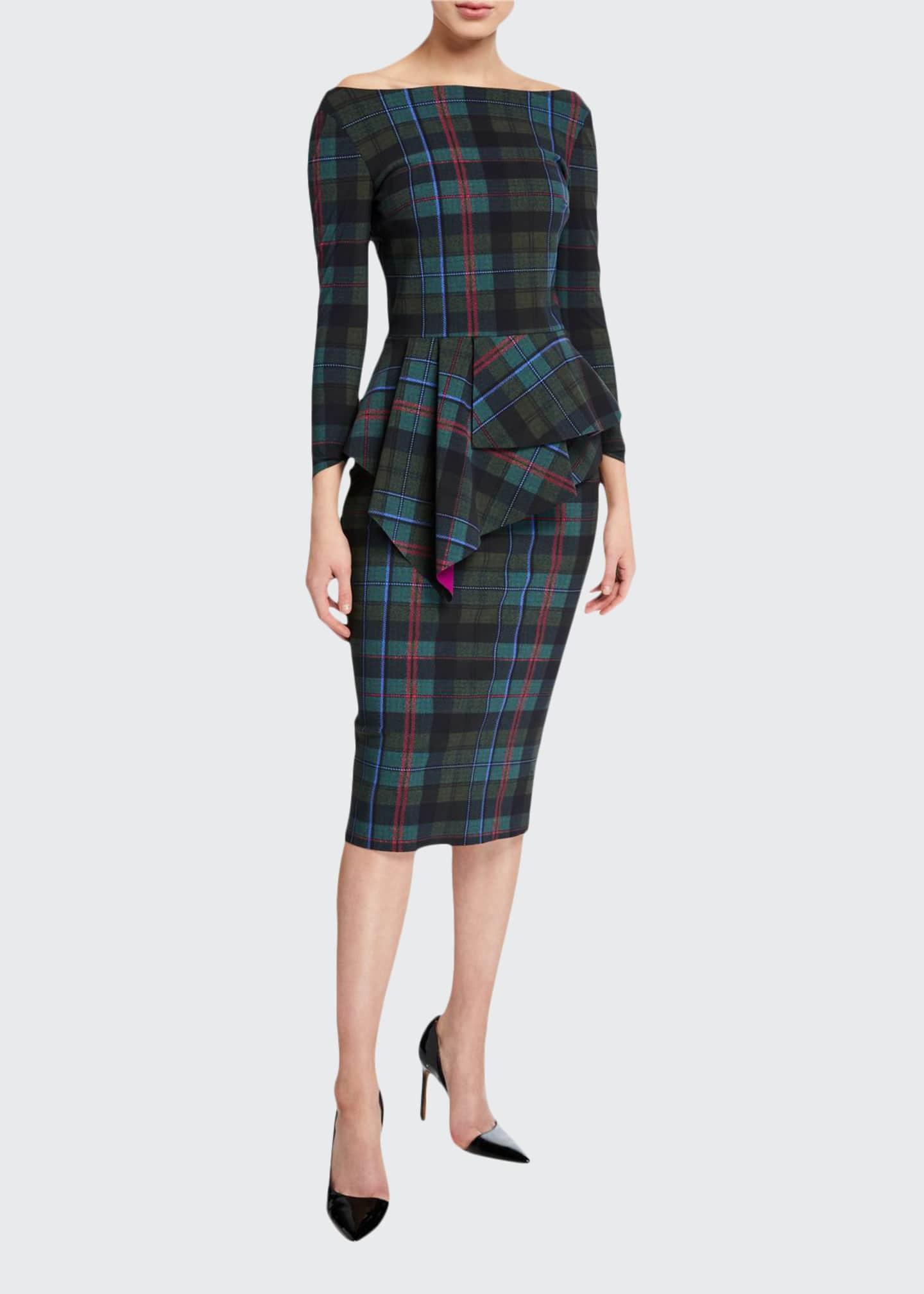 Chiara Boni La Petite Robe Plaid Off-the-Shoulder Long-Sleeve