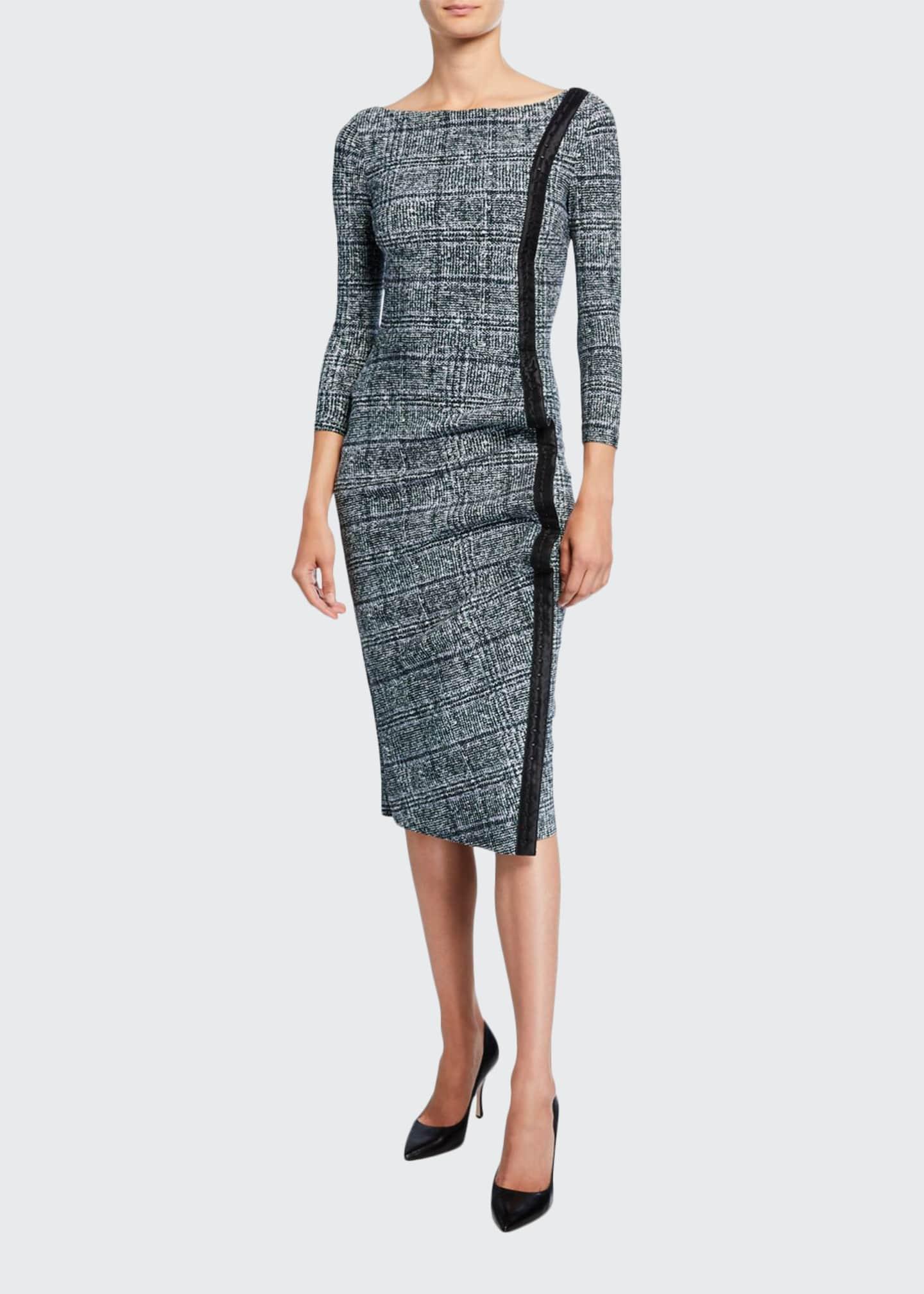 Chiara Boni La Petite Robe Long-Sleeve Tweed Dress
