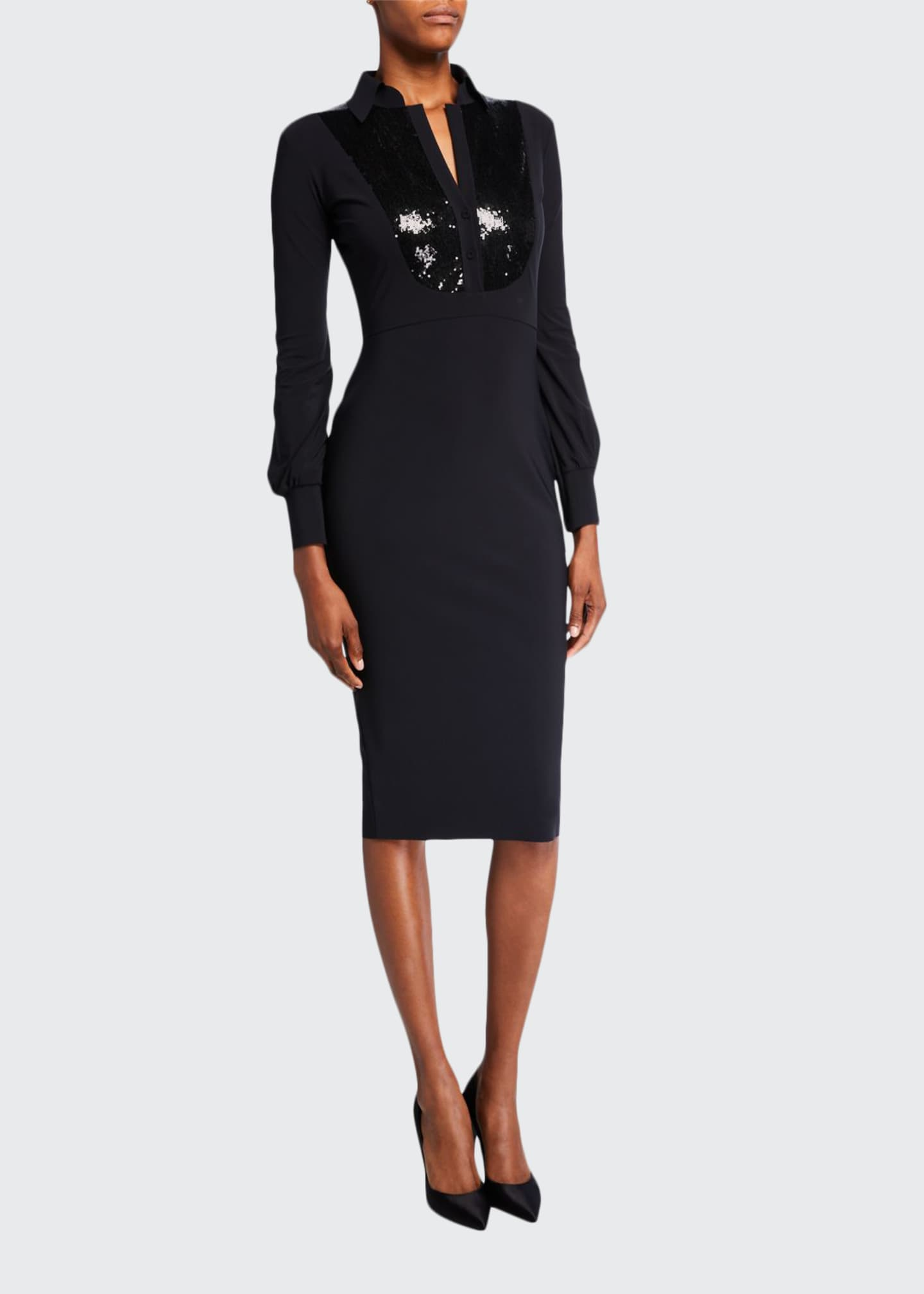 Chiara Boni La Petite Robe Sequin-Bib Long-Sleeve Tuxedo