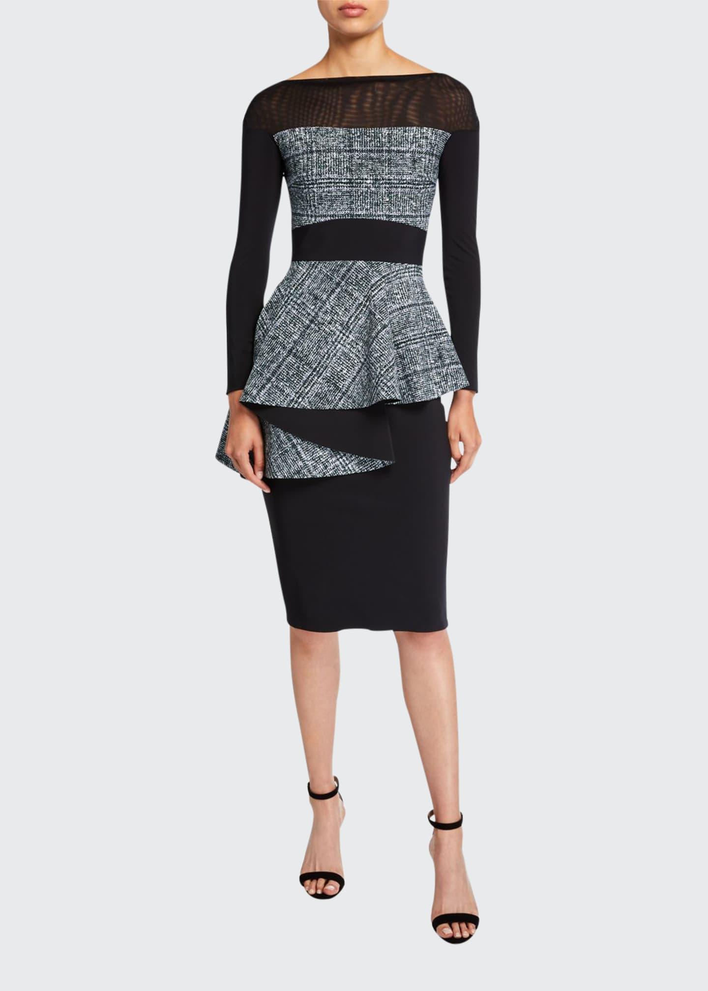 Chiara Boni La Petite Robe Bateau-Neck Long-Sleeve Tweed
