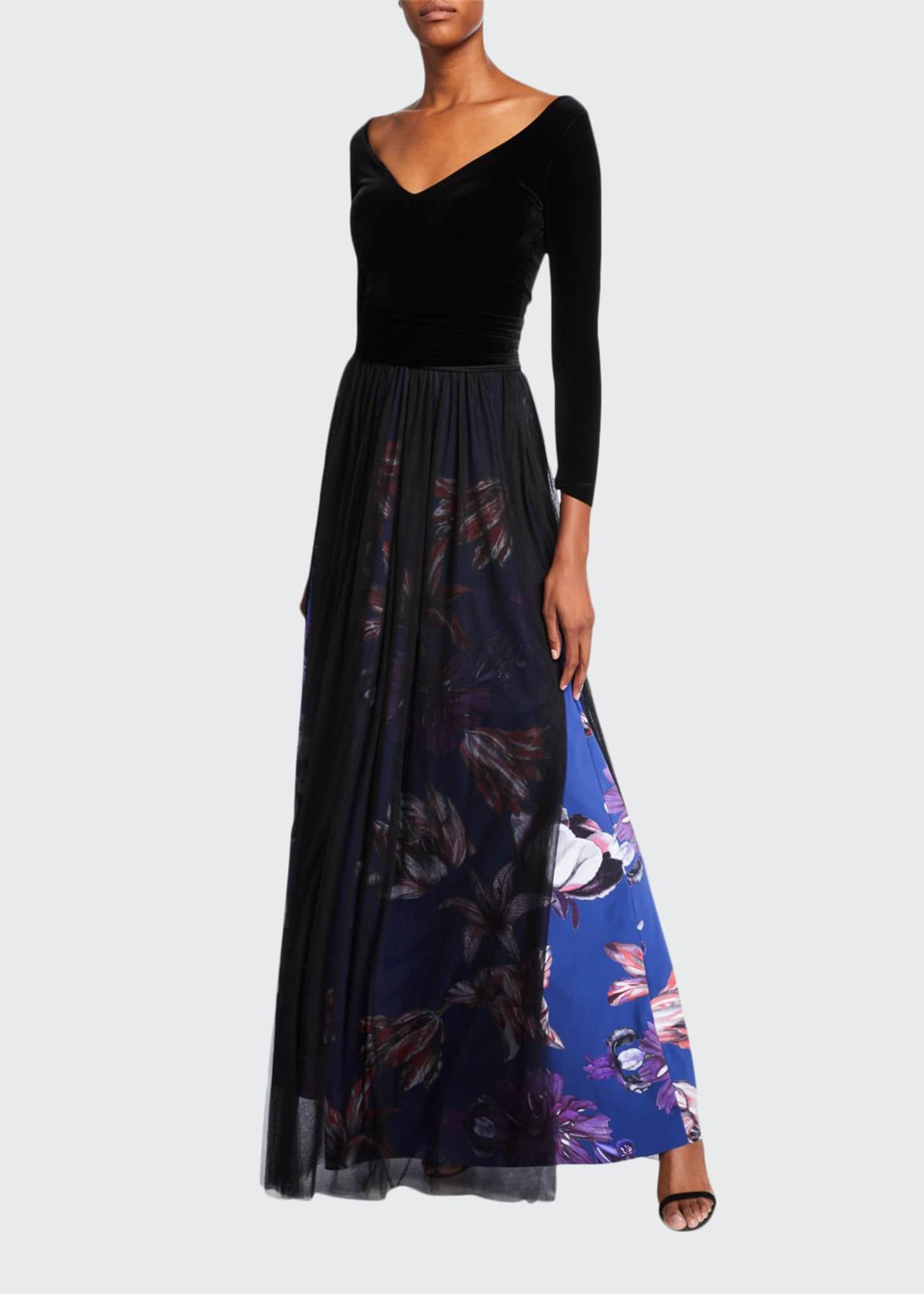 Chiara Boni La Petite Robe V-Neck Long-Sleeve Velvet