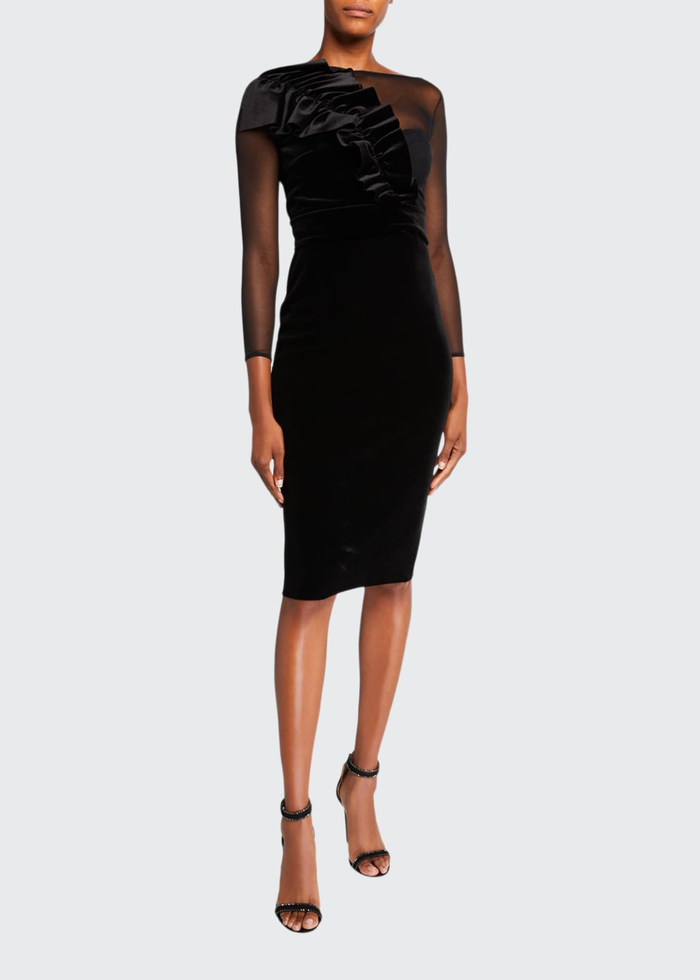 Chiara Boni La Petite Robe Bracelet-Sleeve Illusion Dress
