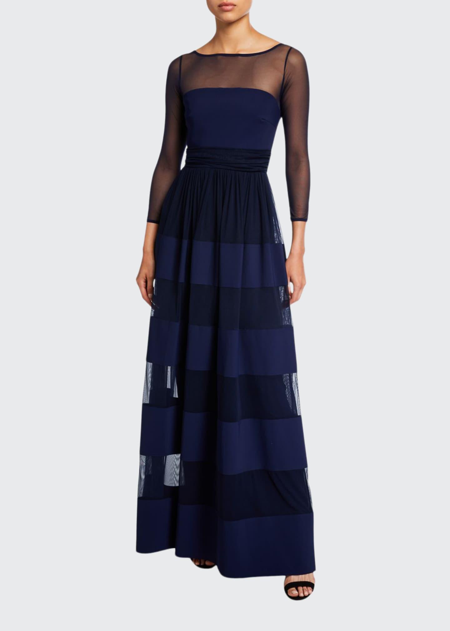 Chiara Boni La Petite Robe Bateau-Neck Long-Sleeve Sheer-Yoke