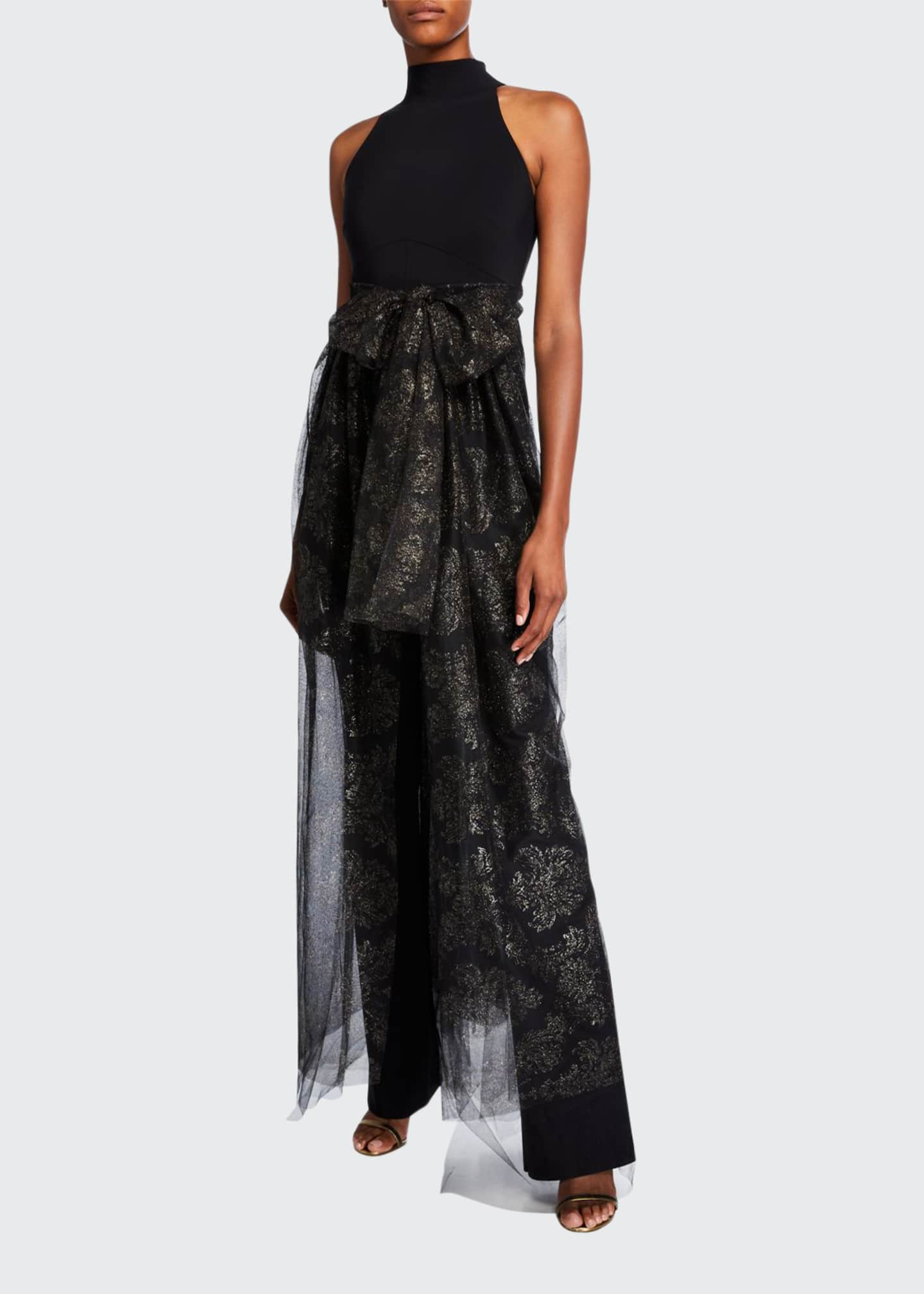 Image 1 of 2: Halter Jumpsuit with Metallic Tulle Overlay