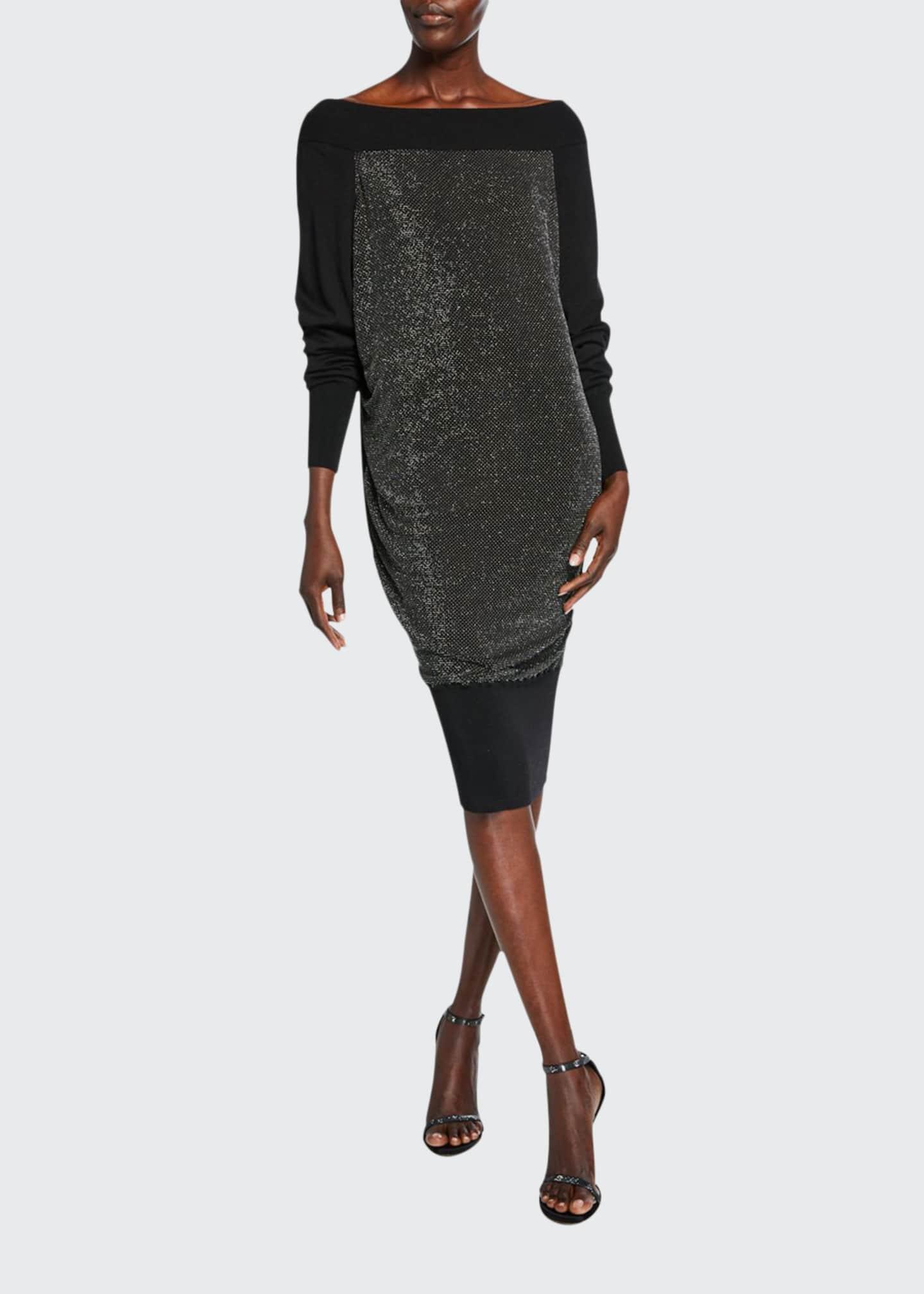 Chiara Boni La Petite Robe Long-Sleeve Metallic Blouson