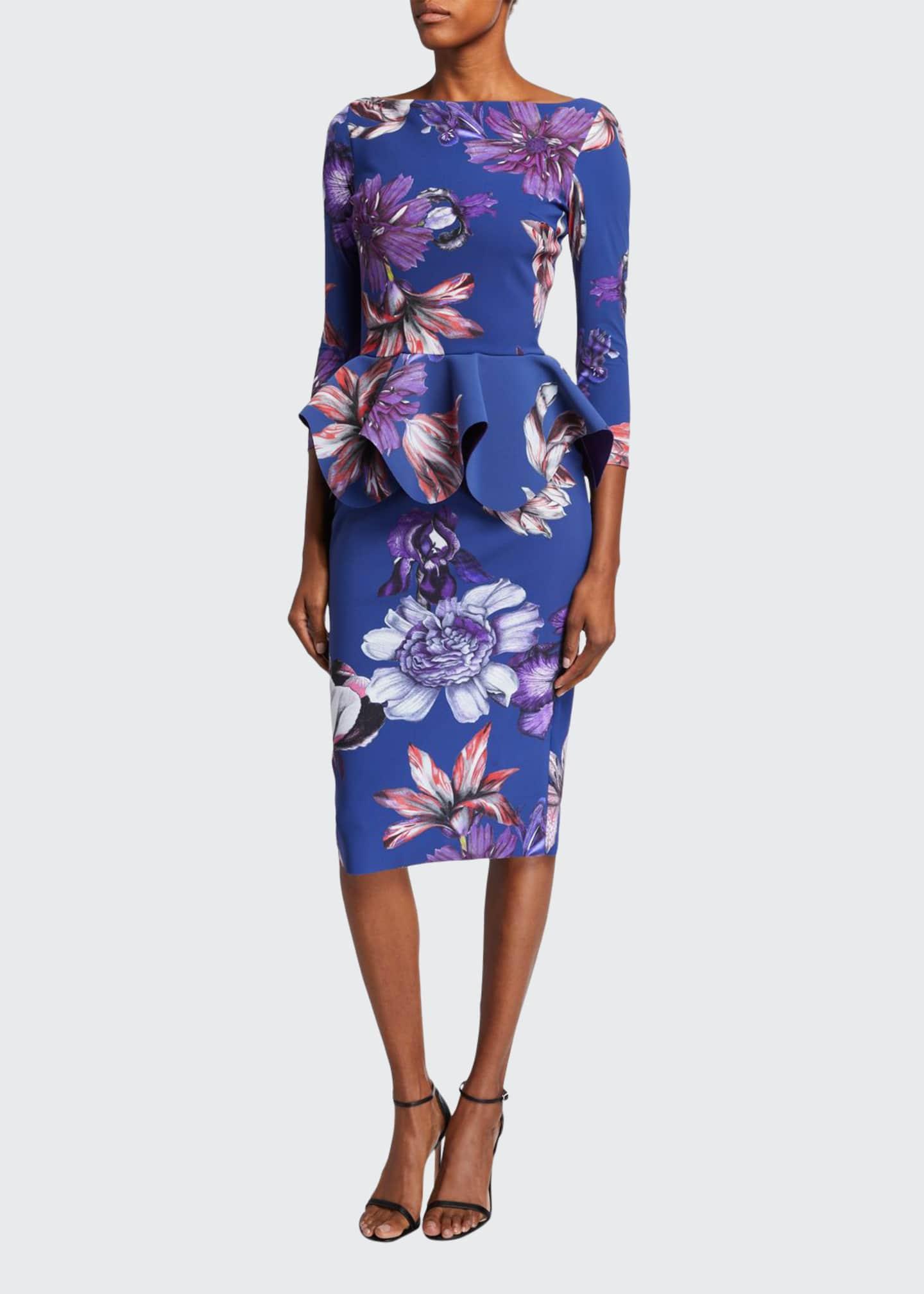 Chiara Boni La Petite Robe Floral High-Neck Long-Sleeve