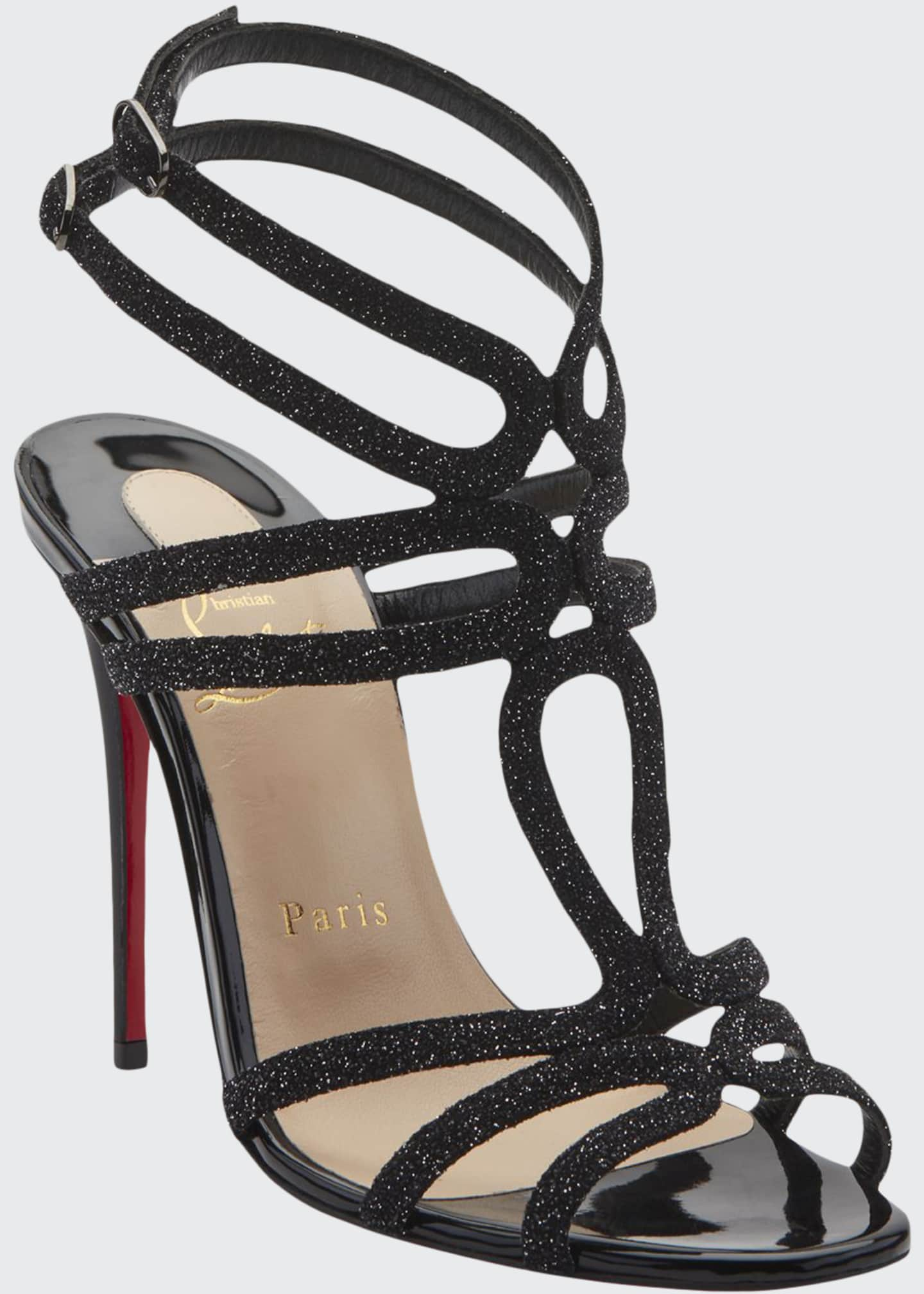 Image 1 of 2: Renee Glitter Red Sole Sandals, Black