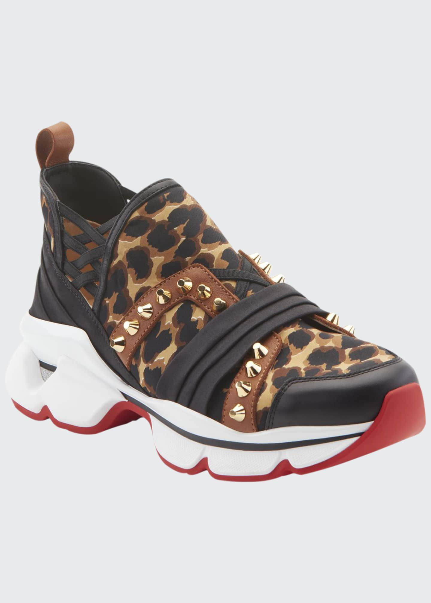 Image 1 of 4: 123 Run Leopard Red Sole Sneakers