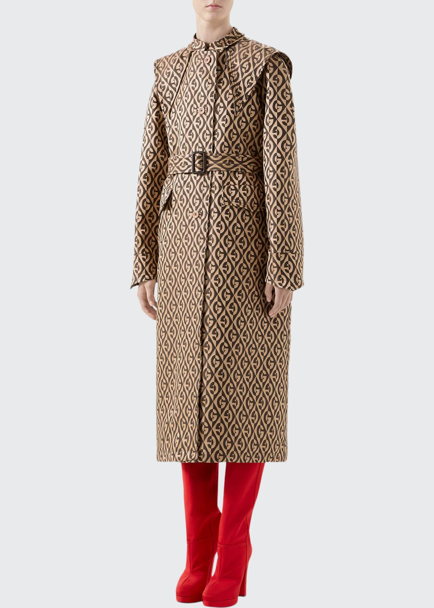 Gucci G Rhombus Jacquard Trench Coat with Exaggerated