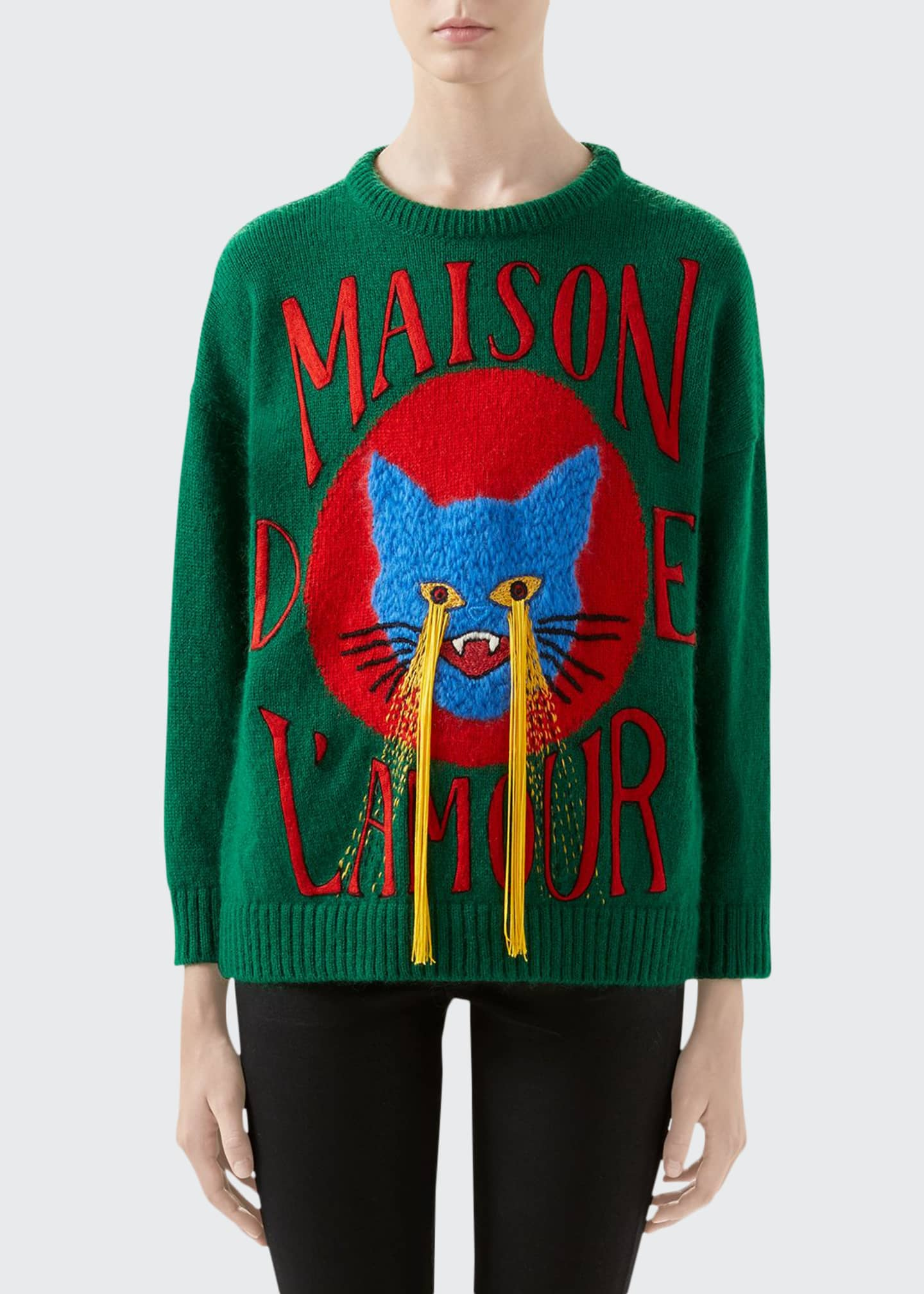 Gucci Cat-Patch Wool Sweater