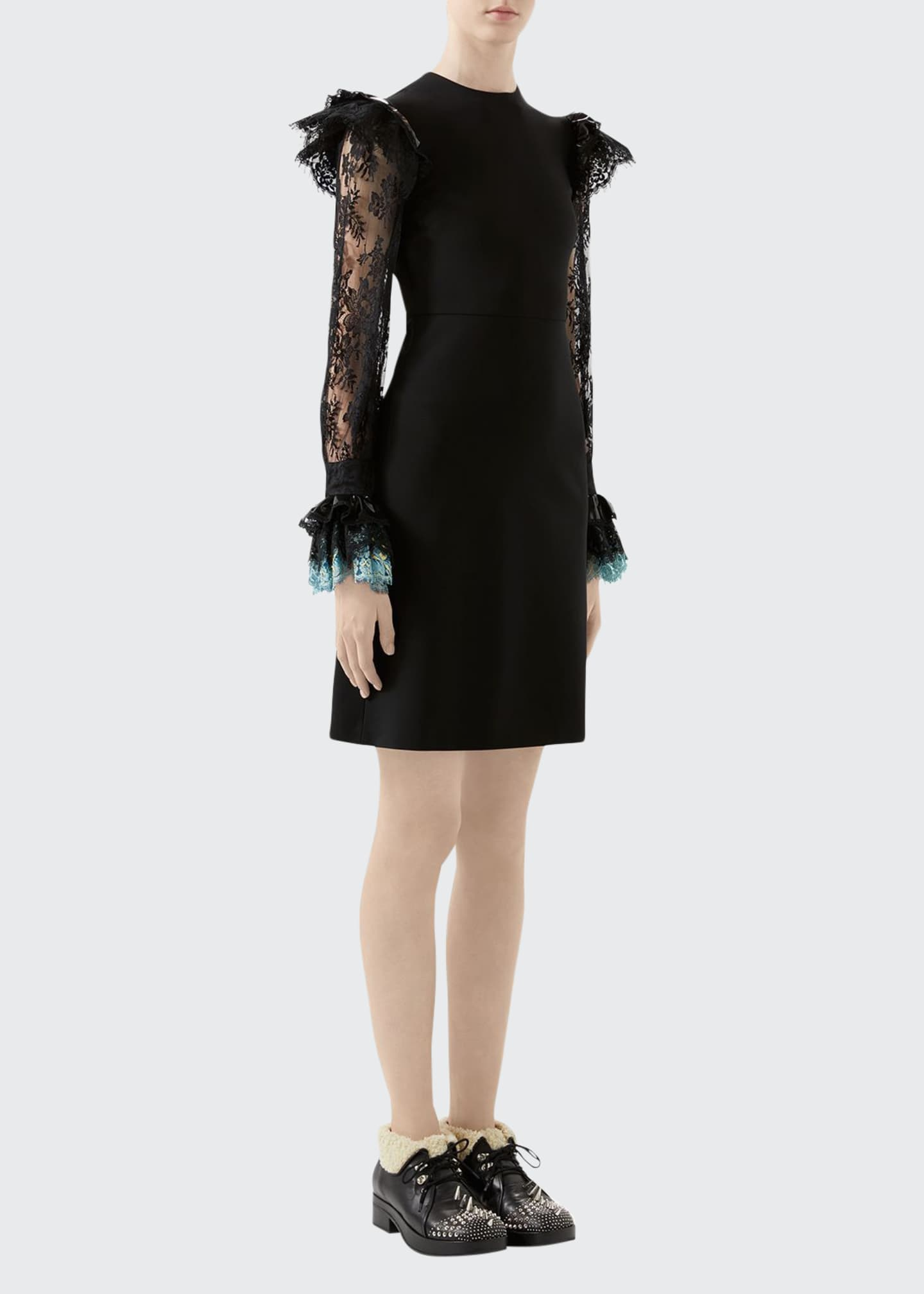 Gucci Lace-Sleeve Jersey Dress