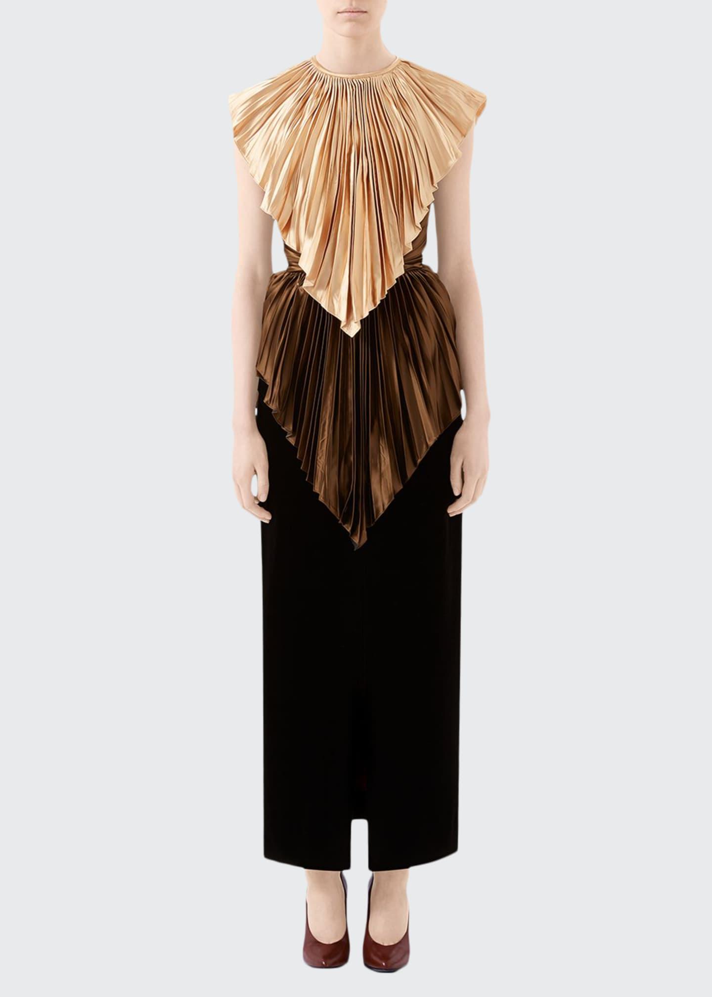 Gucci Colorblock Plisse Cape Dress